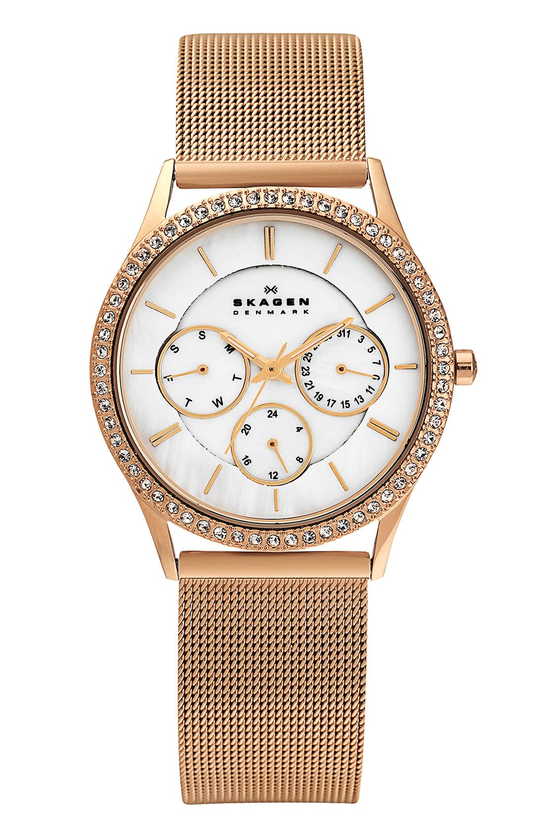 Alternate Image 1 Selected - Skagen Crystal Bezel Mesh Strap Watch