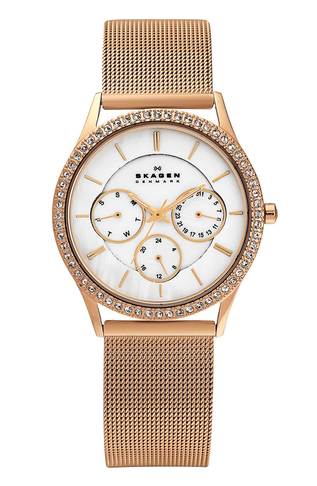 Main Image - Skagen Crystal Bezel Mesh Strap Watch