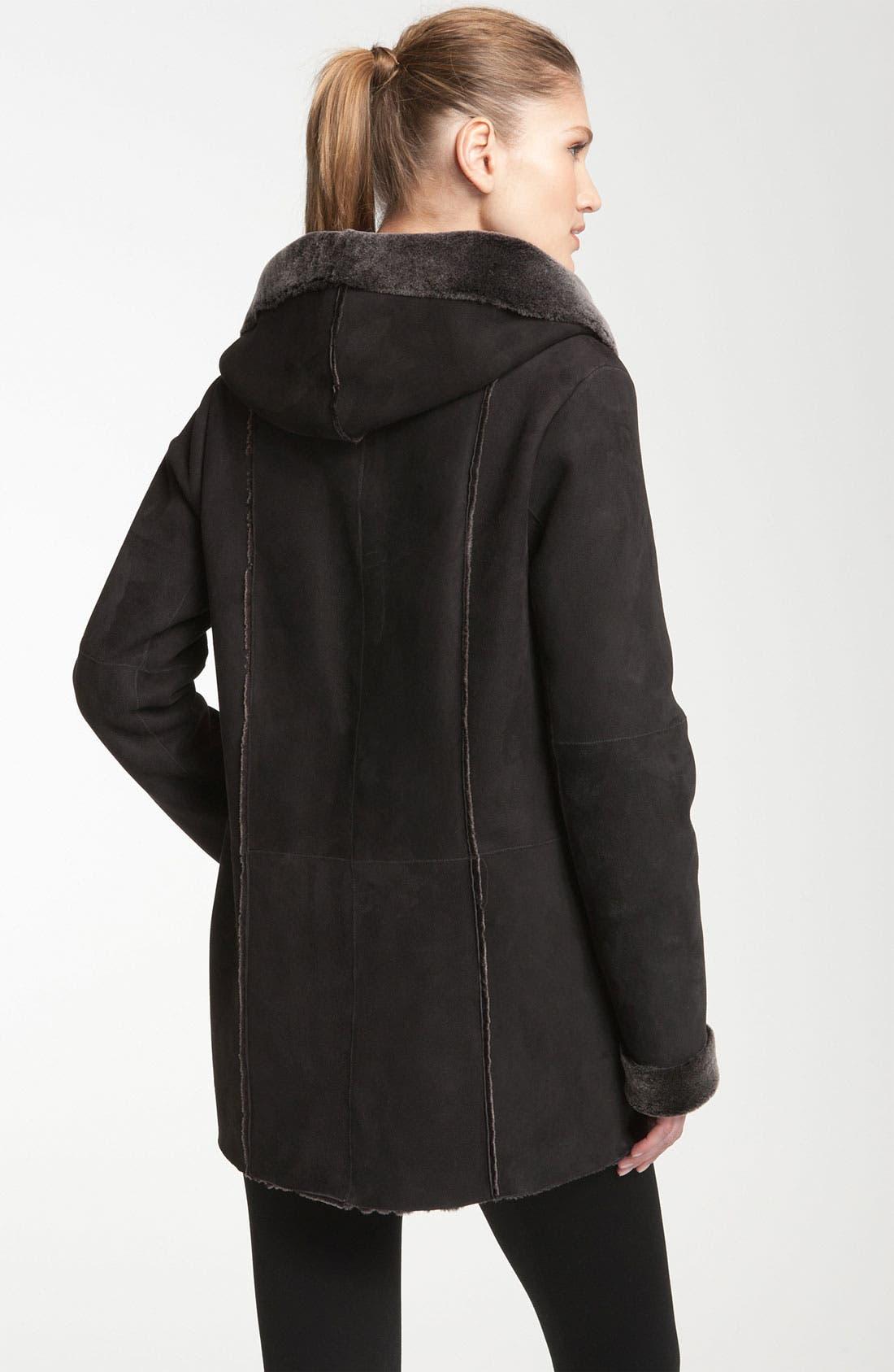 Alternate Image 2  - Vince Hooded Genuine Shearling Coat