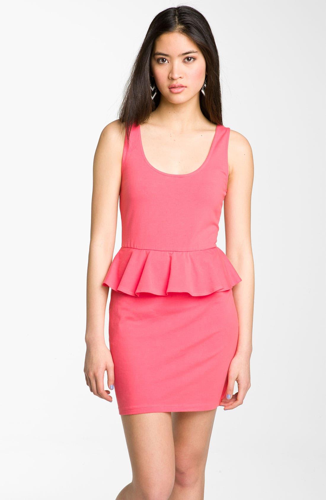Alternate Image 1 Selected - Mimi Chica Cutout Peplum Dress (Juniors)