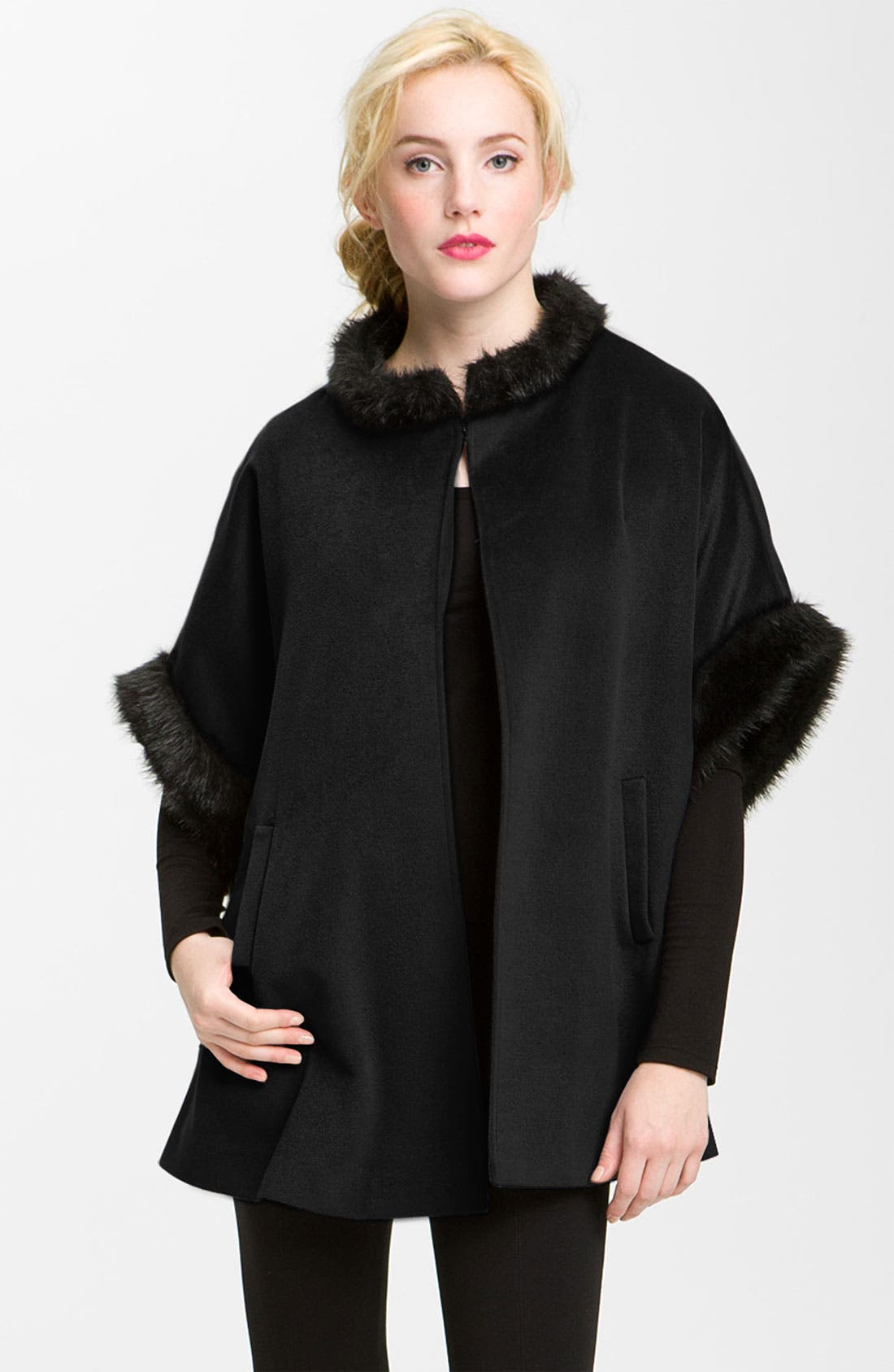 Main Image - Halogen® Faux Fur Trim Cape
