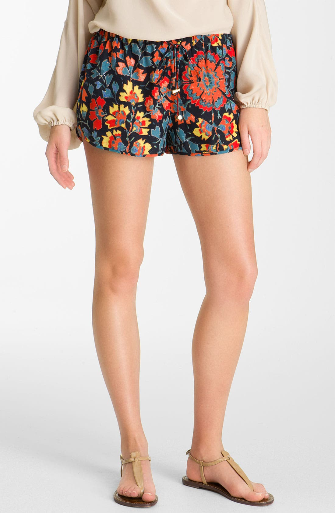 Alternate Image 1 Selected - Haute Hippie Print Drawstring Silk Shorts