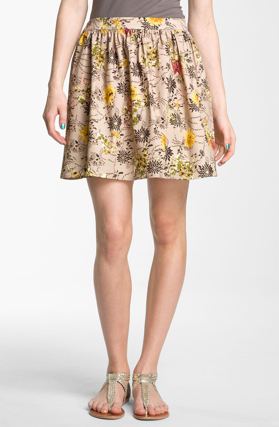 Main Image - Lily White Floral Print Skirt (Juniors)