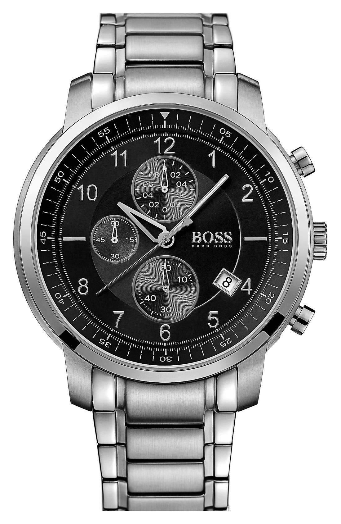 Alternate Image 1 Selected - BOSS Black Round Chronograph Bracelet Watch