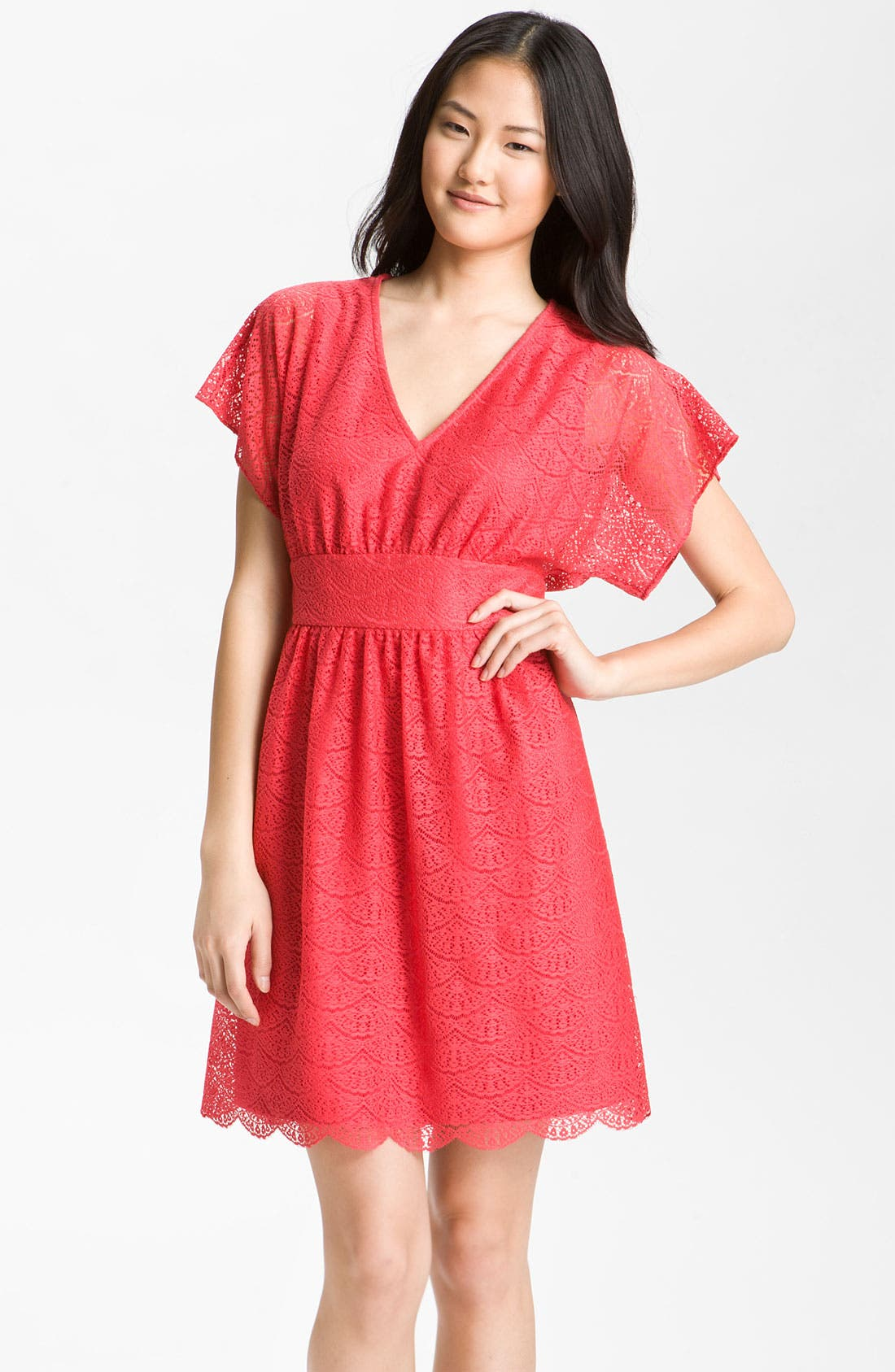 Main Image - Adrianna Papell Dolman Sleeve Lace Overlay Dress