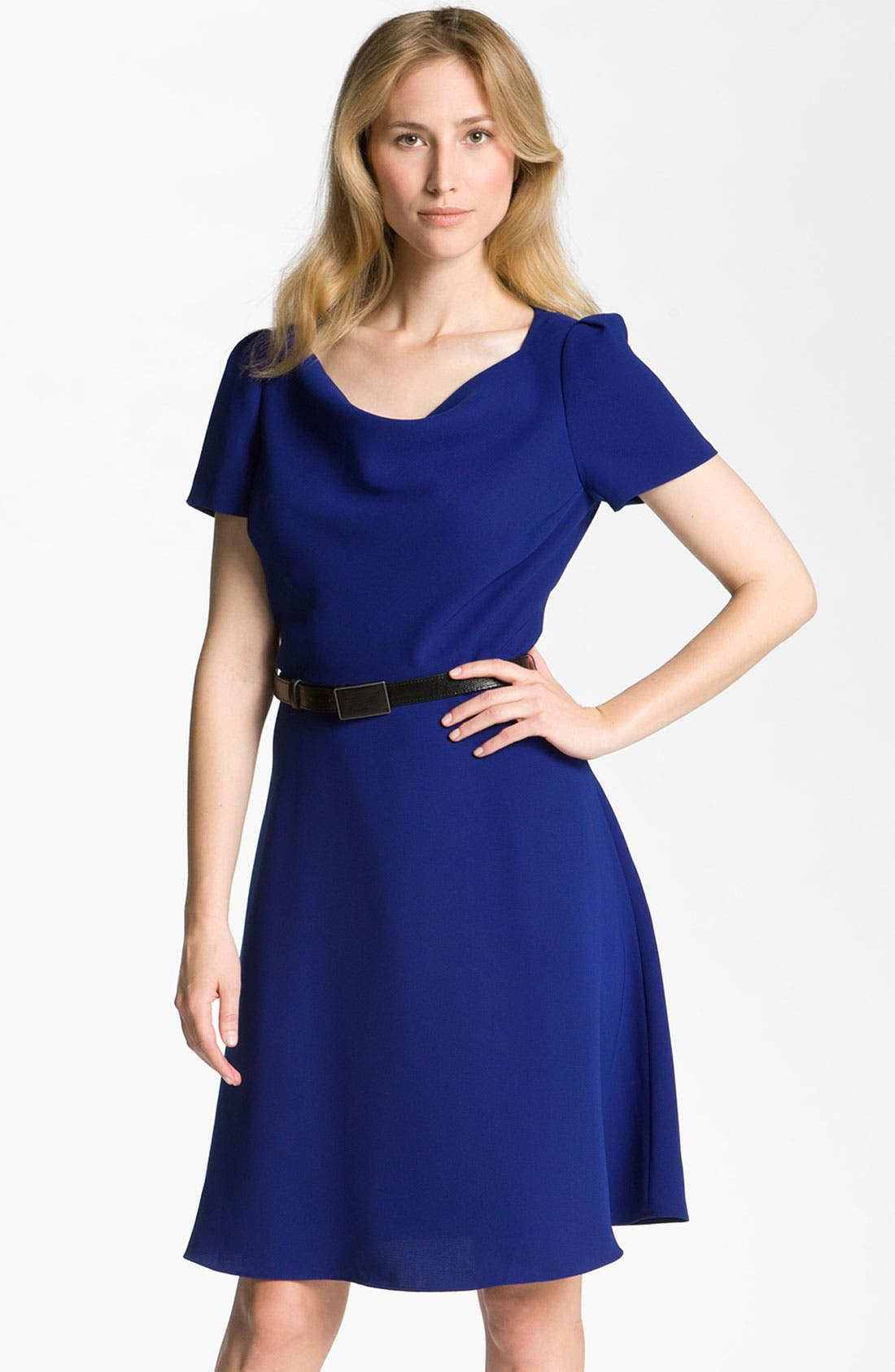 Alternate Image 1 Selected - Tahari by Arthur S. Levine Drape Neck Crepe Fit & Flare Dress