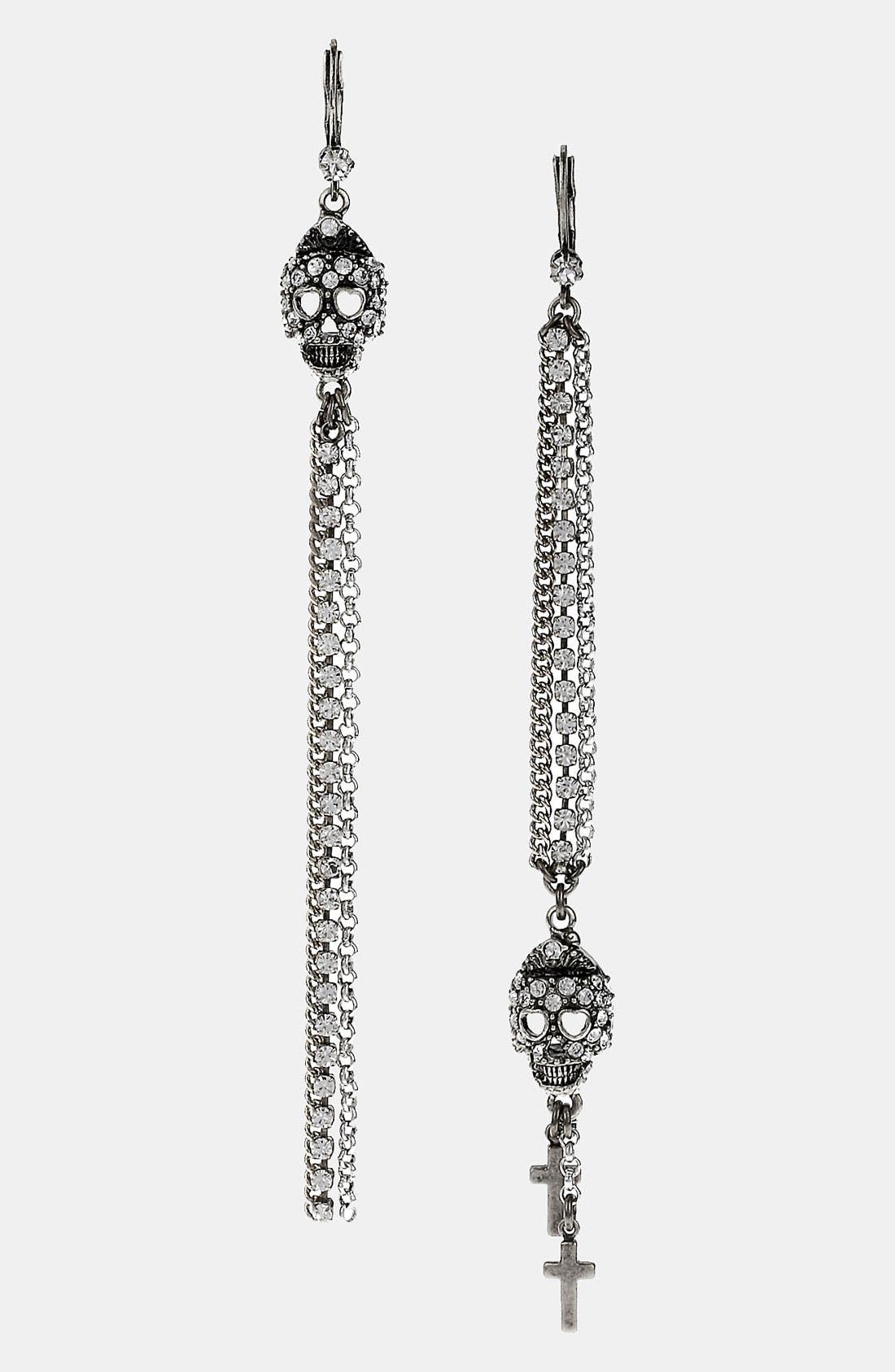 Main Image - Betsey Johnson 'Black Label' Linear Skull Earrings