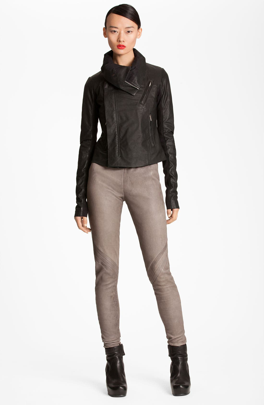 Alternate Image 1 Selected - Rick Owens Quilted Seam Leather Jacket