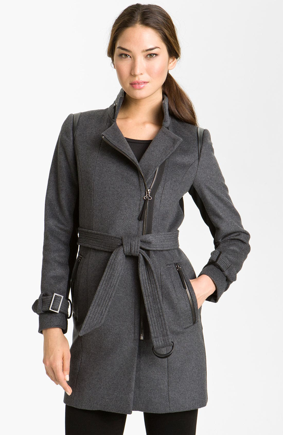 Alternate Image 1 Selected - Kristen Blake Asymmetrical Zip Belted Coat