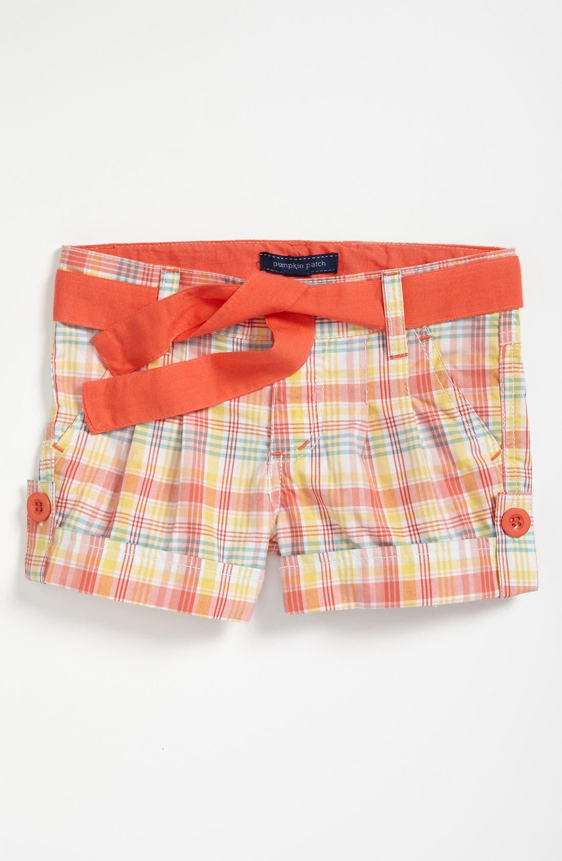 Main Image - Pumpkin Patch Plaid Shorts (Toddler)