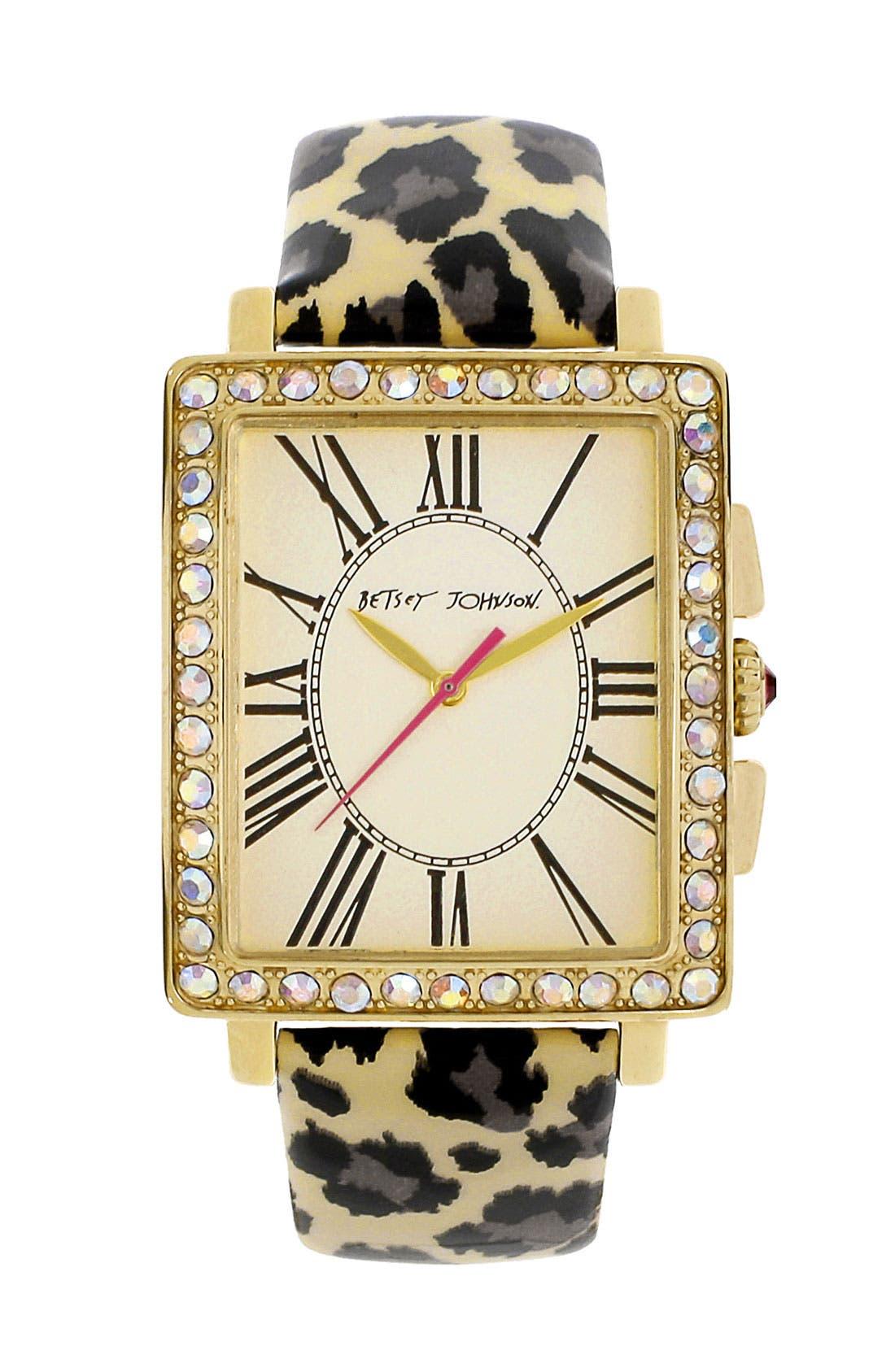Main Image - Betsey Johnson Patent Leather Strap Watch