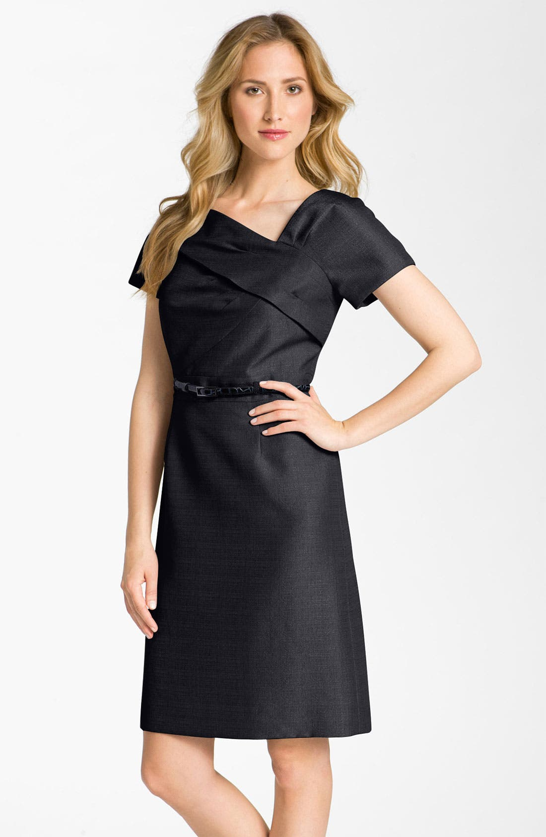 Main Image - Tahari by Arthur S. Levine Asymmetrical Neck Belted Jacquard Dress