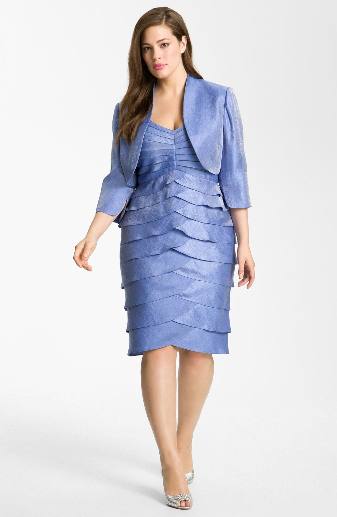 Main Image - Adrianna Papell Evening Shutter Pleat Dress with Bolero Jacket (Plus)