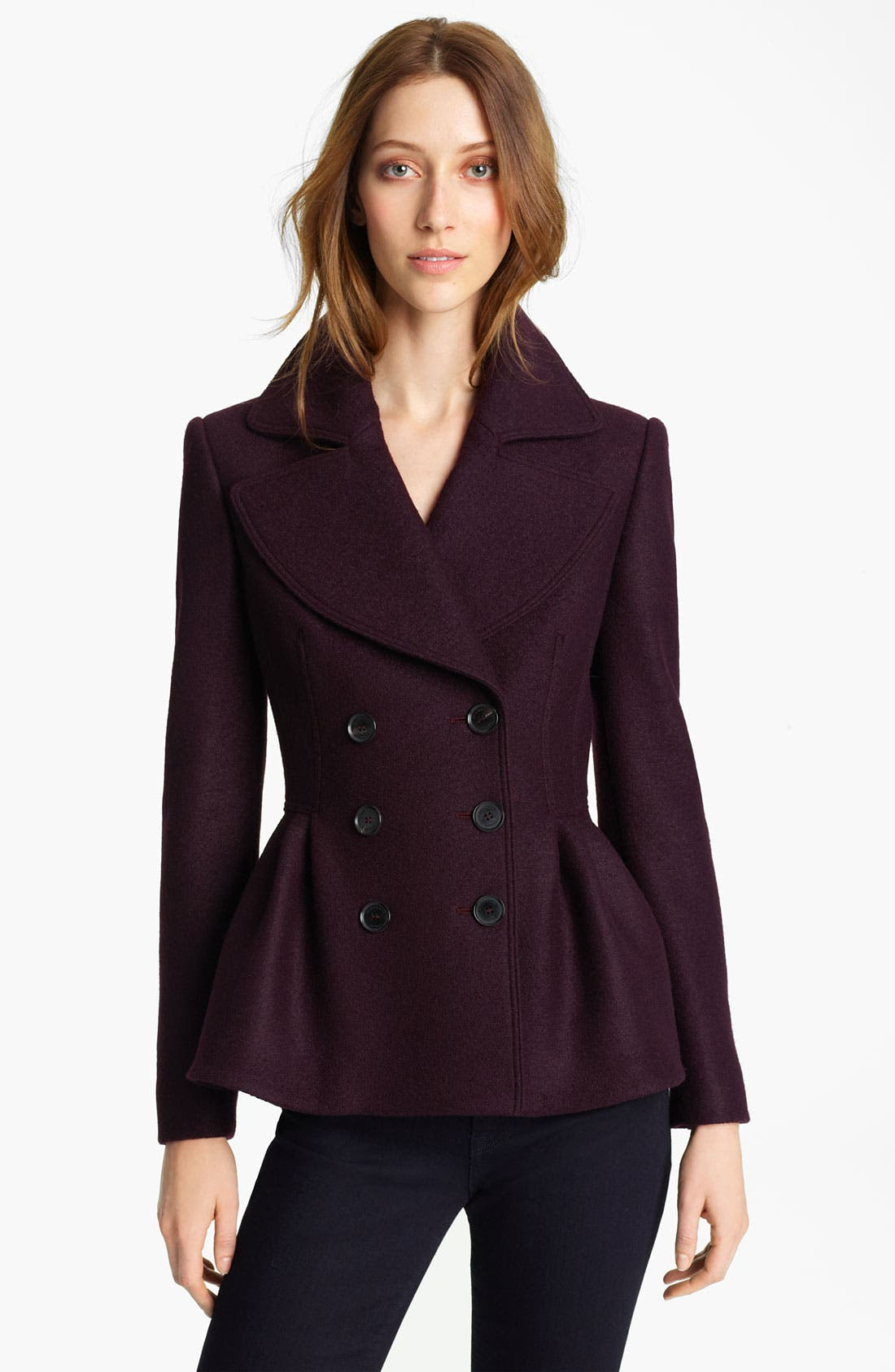Alternate Image 1 Selected - Burberry London Peplum Boiled Wool Jacket