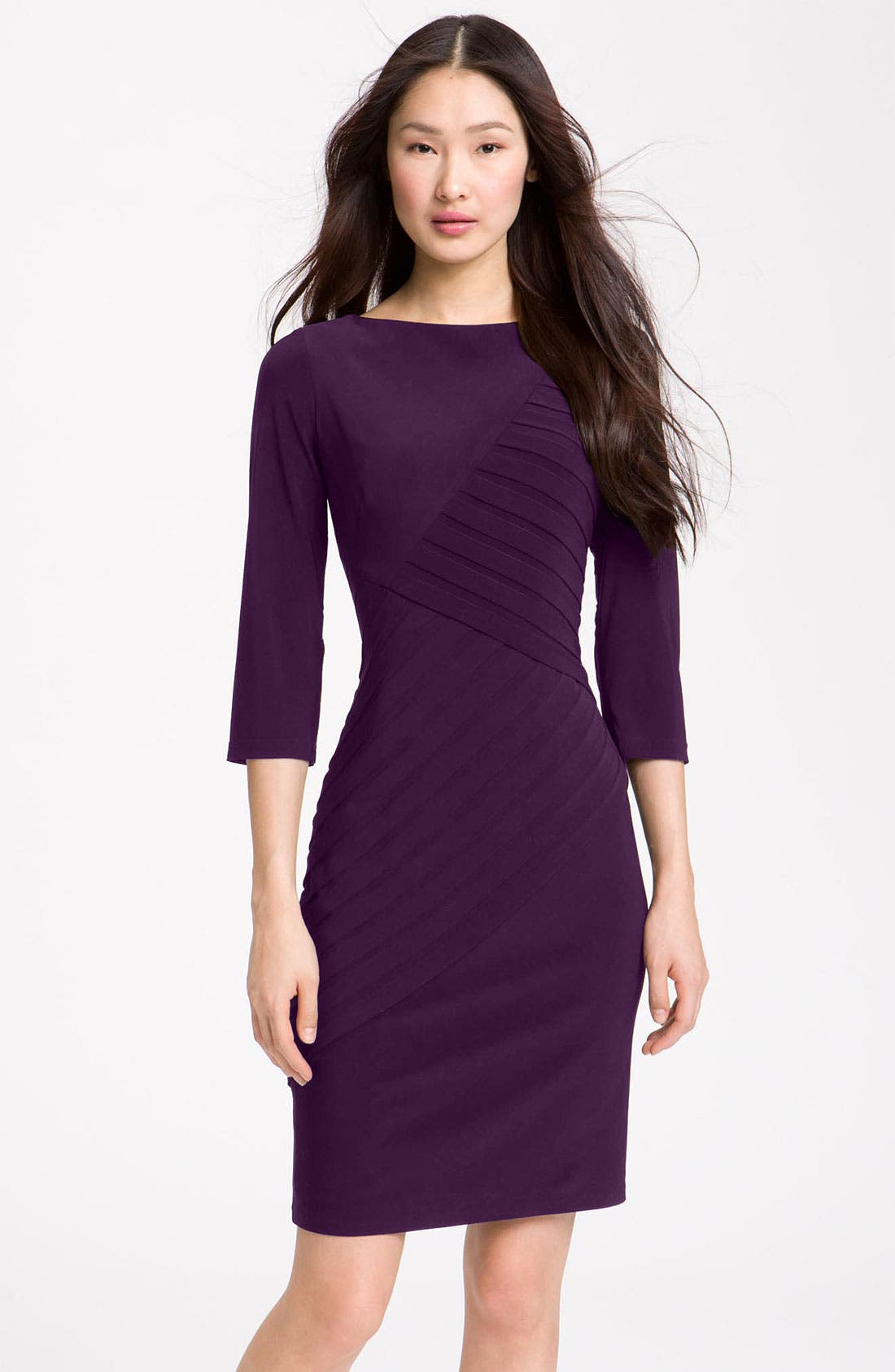 Alternate Image 1 Selected - Adrianna Papell Pleated Jersey Sheath Dress