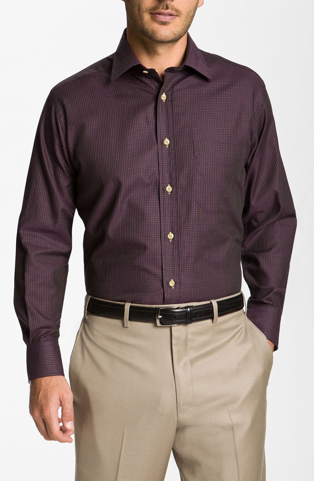 Main Image - David Donahue Woven Sport Shirt