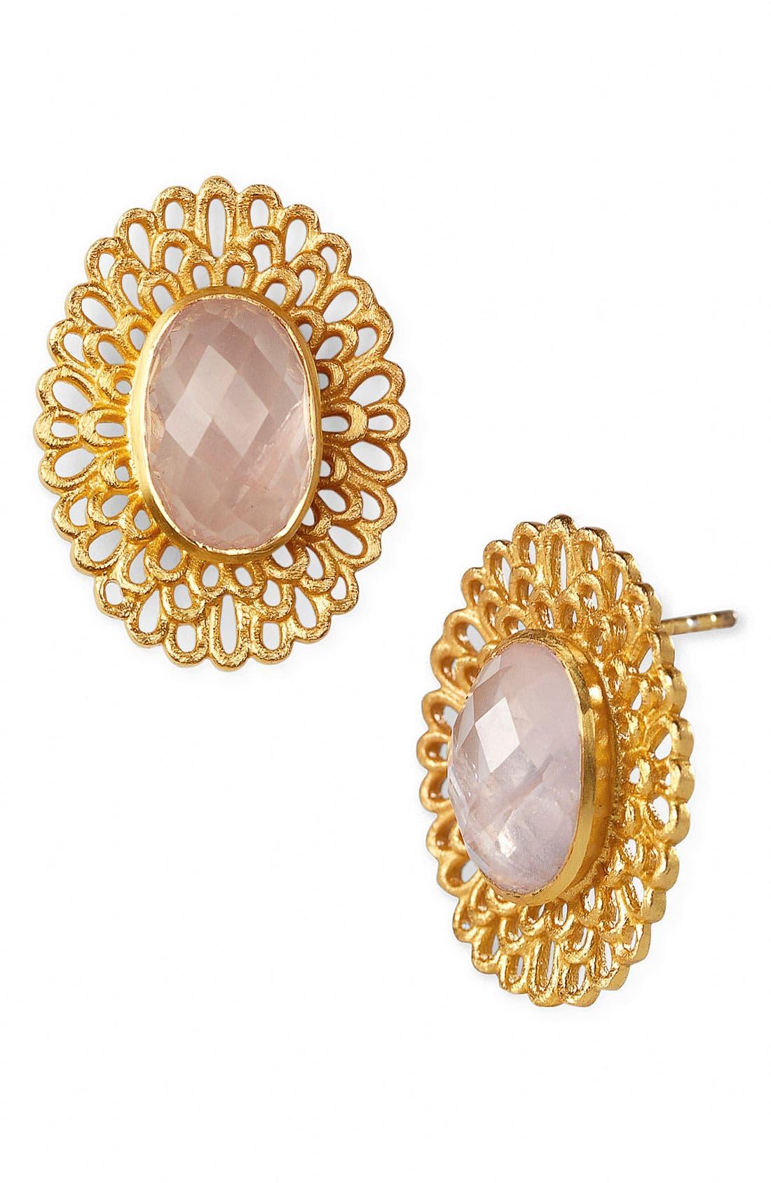Main Image - Argento Vivo 'Garden' Oval Stone Stud Earrings