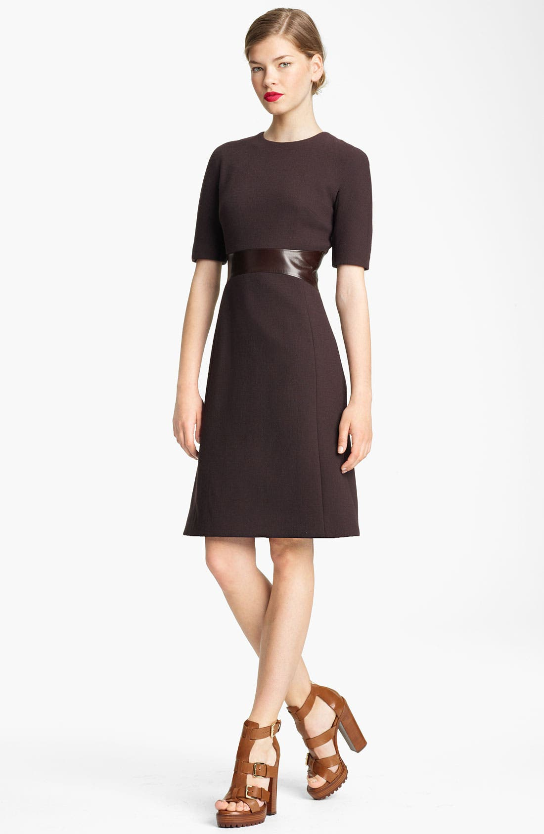 Main Image - Michael Kors Leather Waist Bouclé Crepe Dress