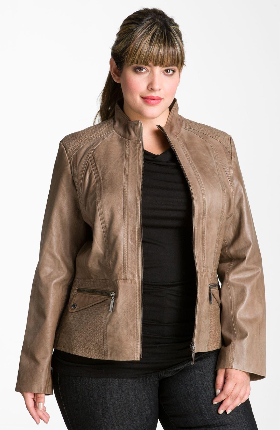 Alternate Image 1 Selected - Bernardo Topstitch Leather Scuba Jacket (Plus)
