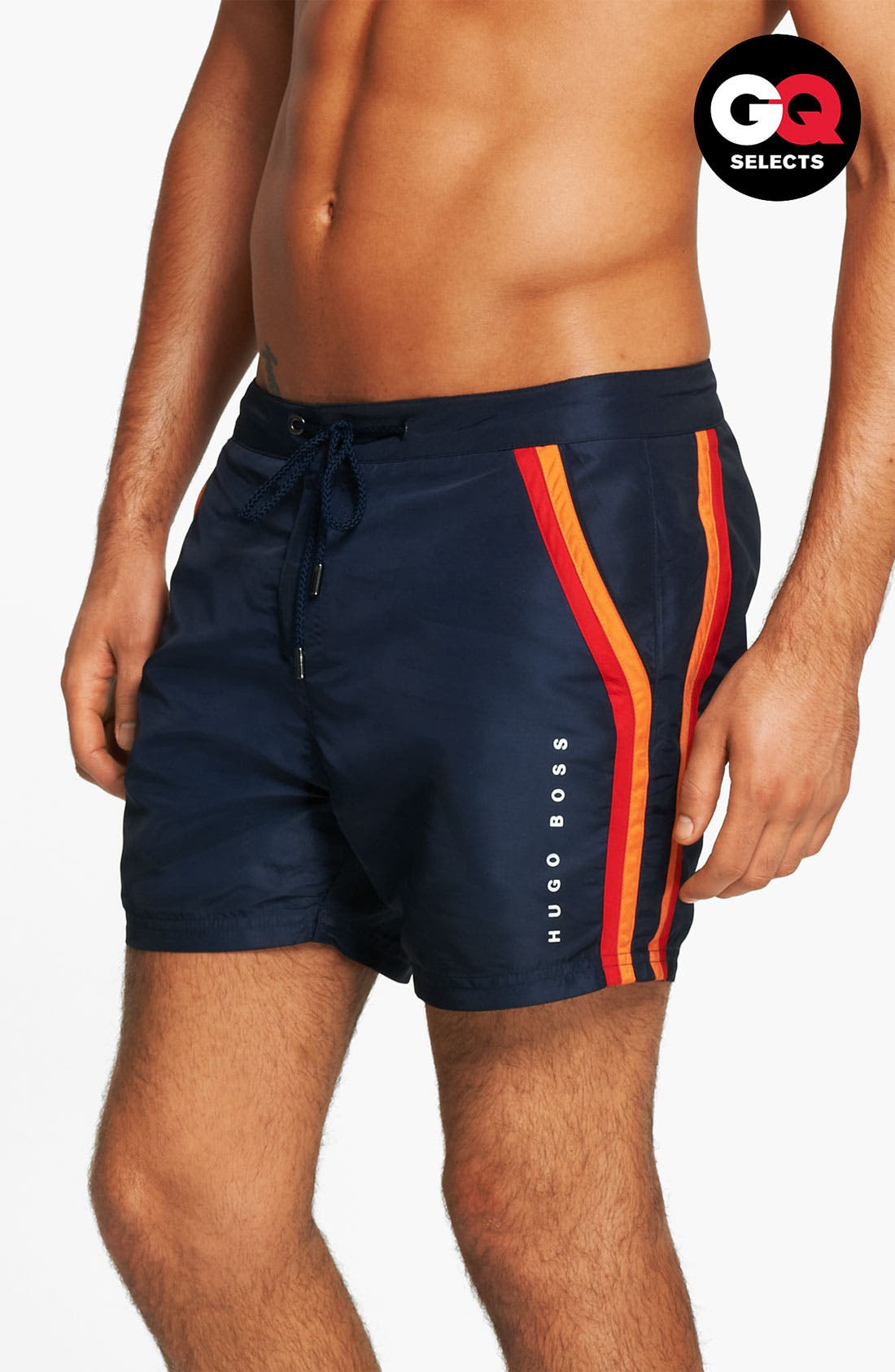 Main Image - BOSS HUGO BOSS 'Rainbowfish' Stripe Swim Shorts