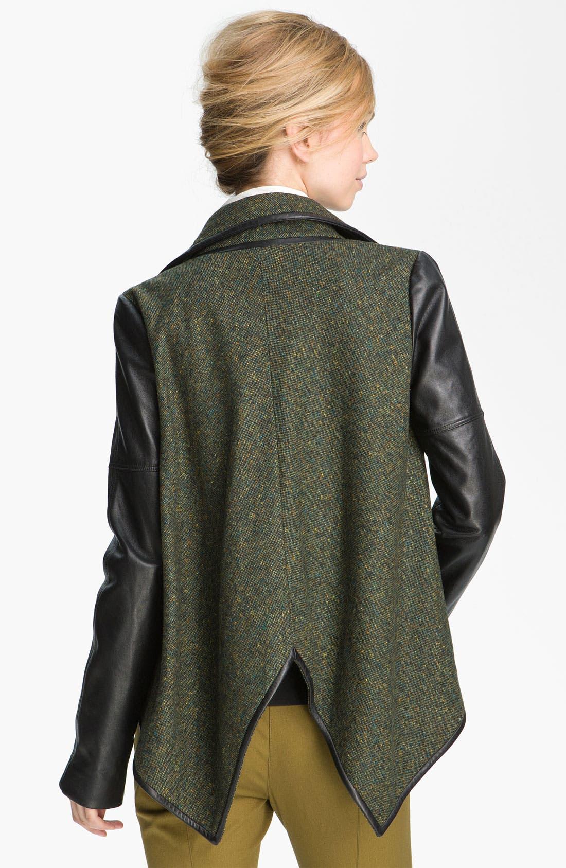 Alternate Image 2  - Derek Lam 10 Crosby Leather Sleeve Jacket