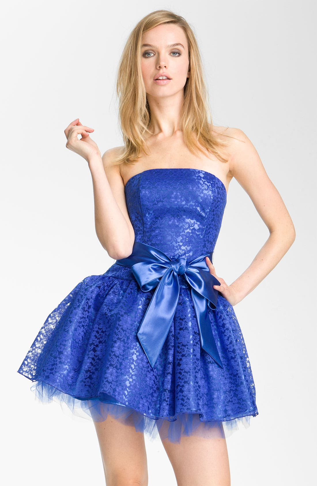 Alternate Image 1  - Jessica McClintock Strapless Lace & Tulle Dress