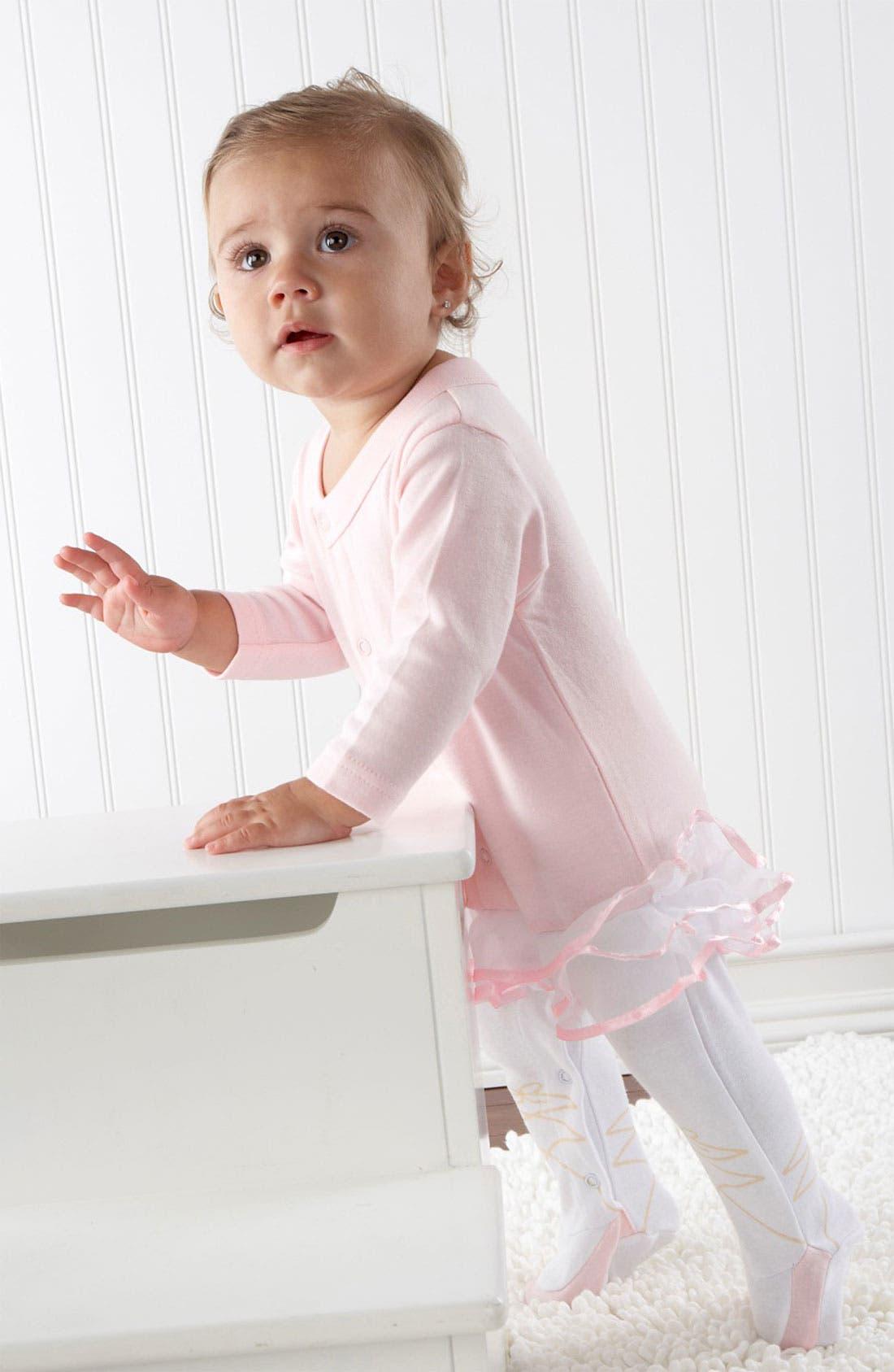 Main Image - Baby Aspen 'Ballerina' Footie & Hat (Baby Girls)