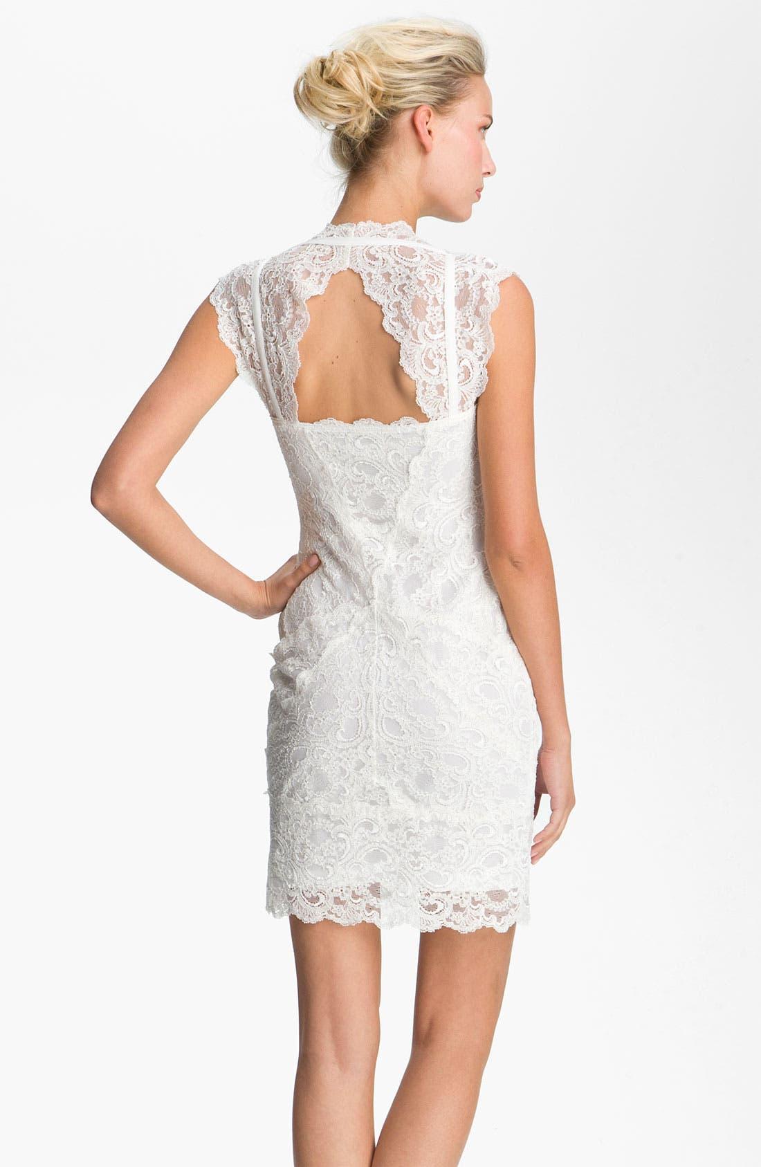 Alternate Image 2  - Nicole Miller Wide Strap Lace Sheath Dress