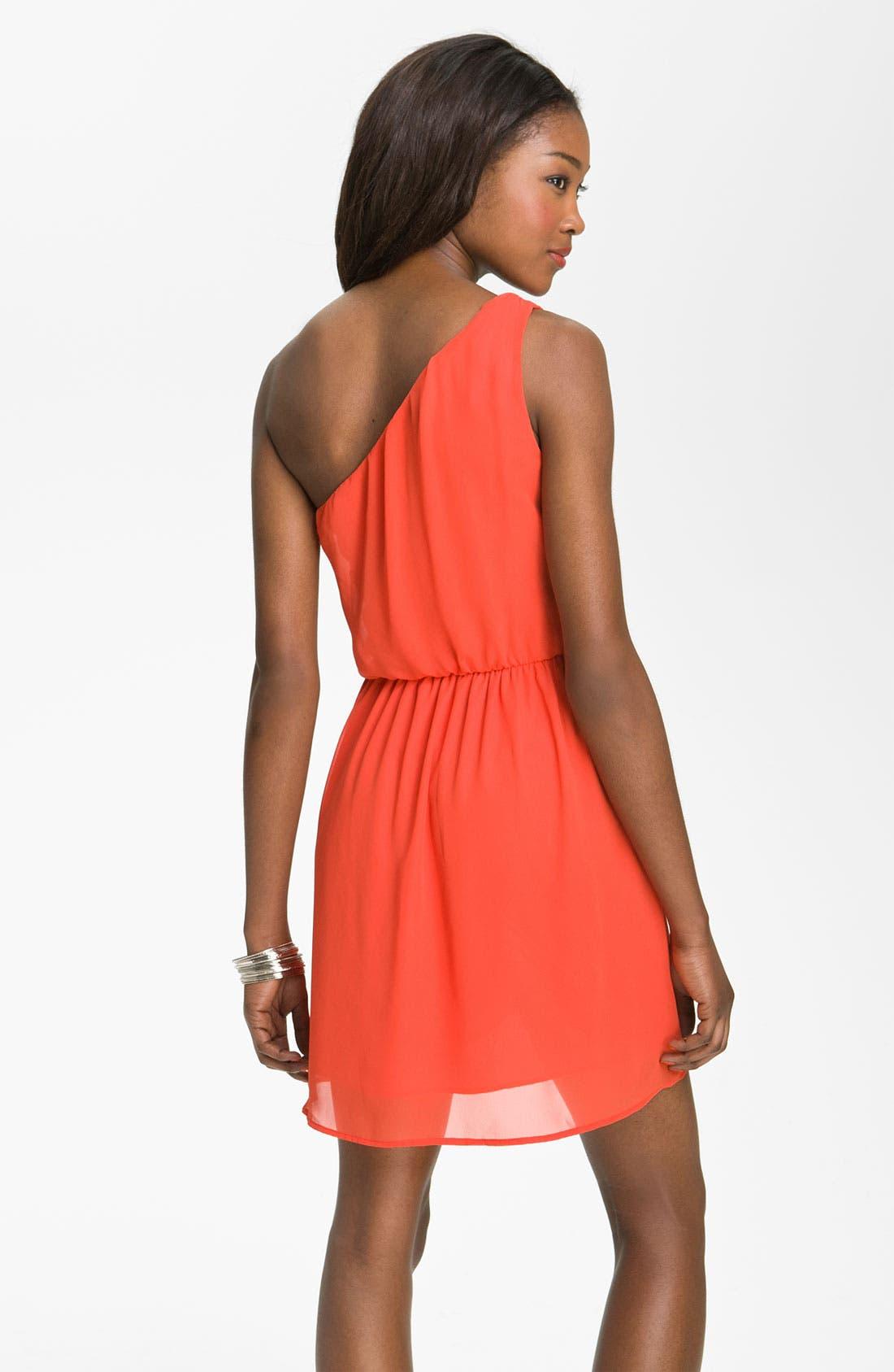 Alternate Image 2  - Lush 'Caroline' One Shoulder Dress (Juniors)