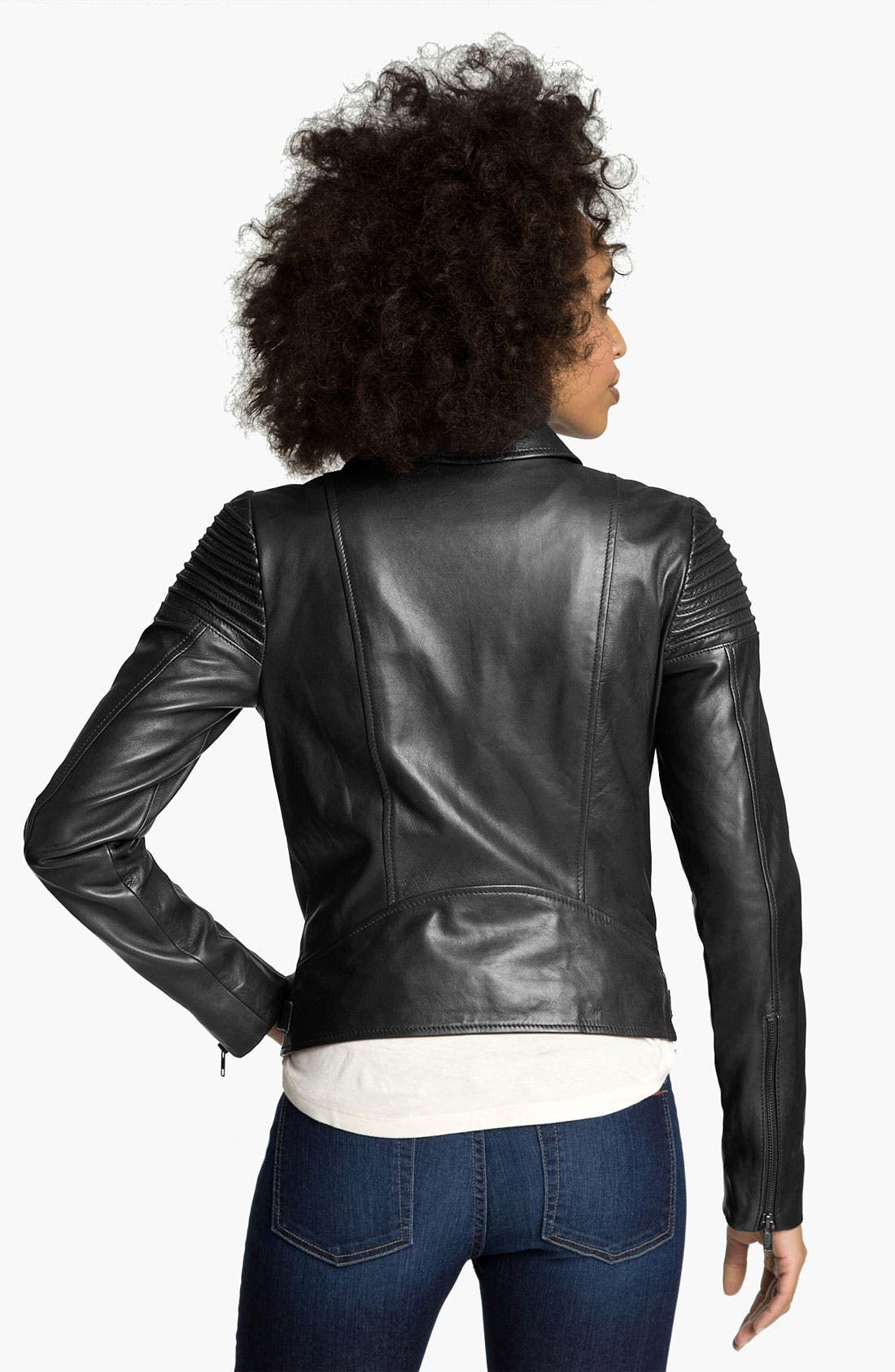 Alternate Image 2  - Trouvé Quilted Leather Biker Jacket