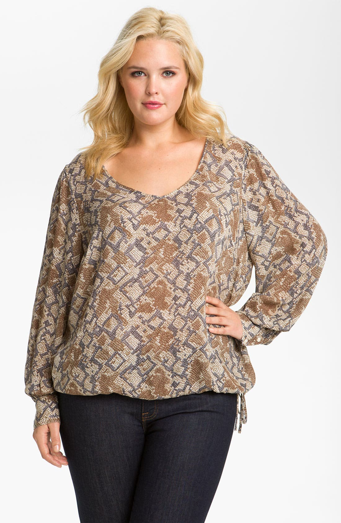 Alternate Image 1 Selected - Lucky Brand 'Anaconda' Blouson Top (Plus)