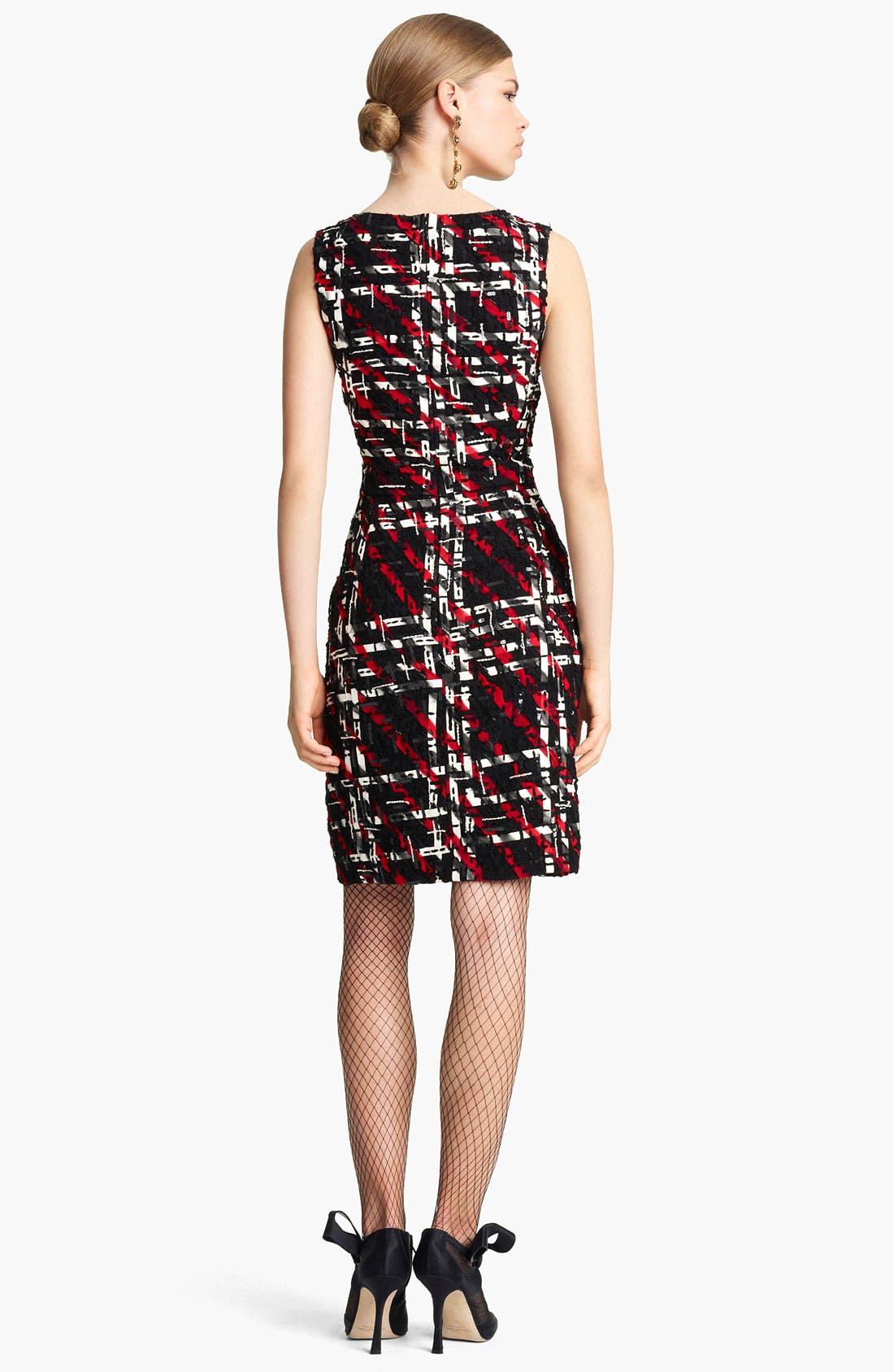 Alternate Image 2  - Oscar de la Renta Georgette Embroidered Tweed Dress