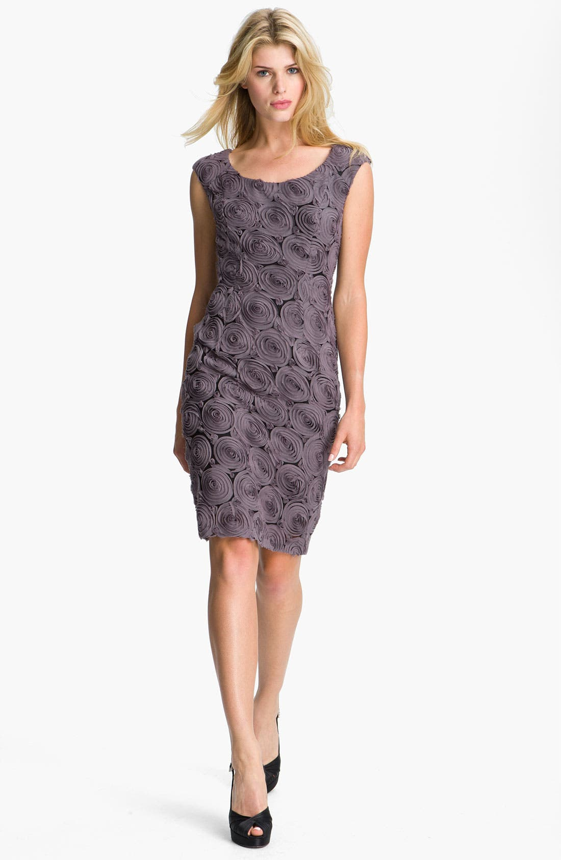 Alternate Image 1 Selected - Adrianna Papell Rosette Detail Chiffon Sheath Dress