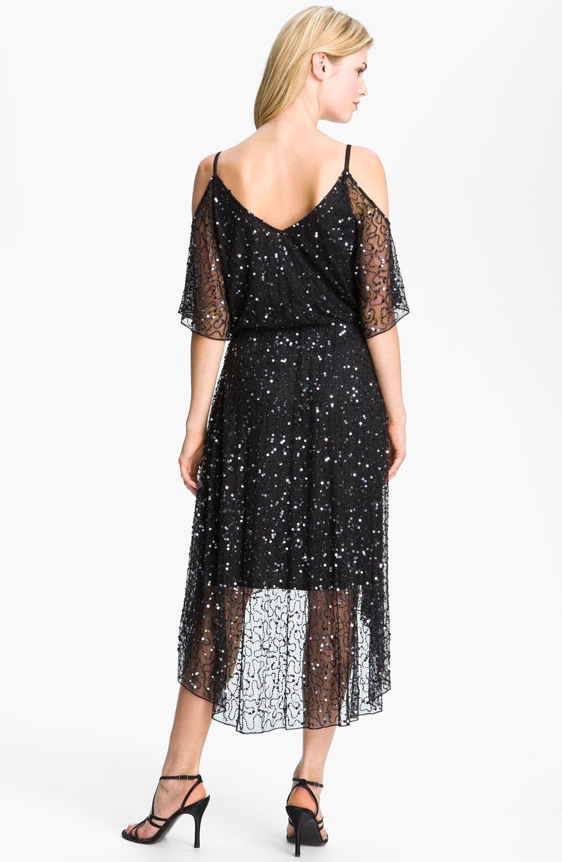 Alternate Image 2  - Pisarro Nights Sequin Open Shoulder Silk Dress