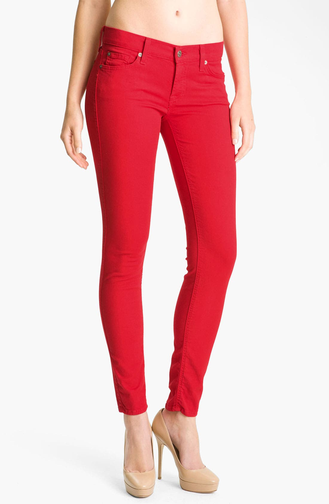 Alternate Image 1 Selected - 7 For All Mankind® 'The Skinny' Overdyed Jeans (Red Apple)