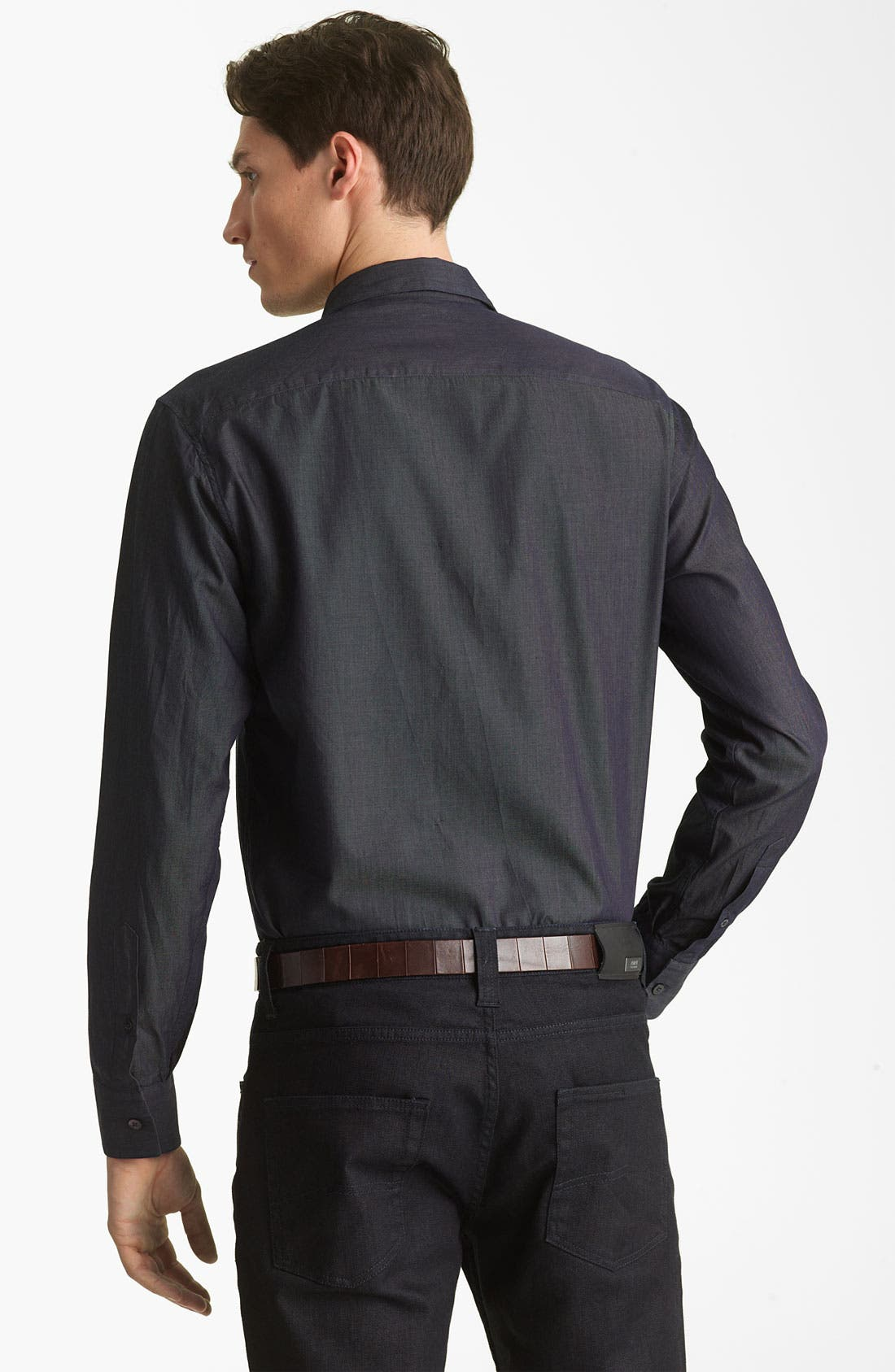 Alternate Image 2  - Armani Collezioni Chambray Sport Shirt