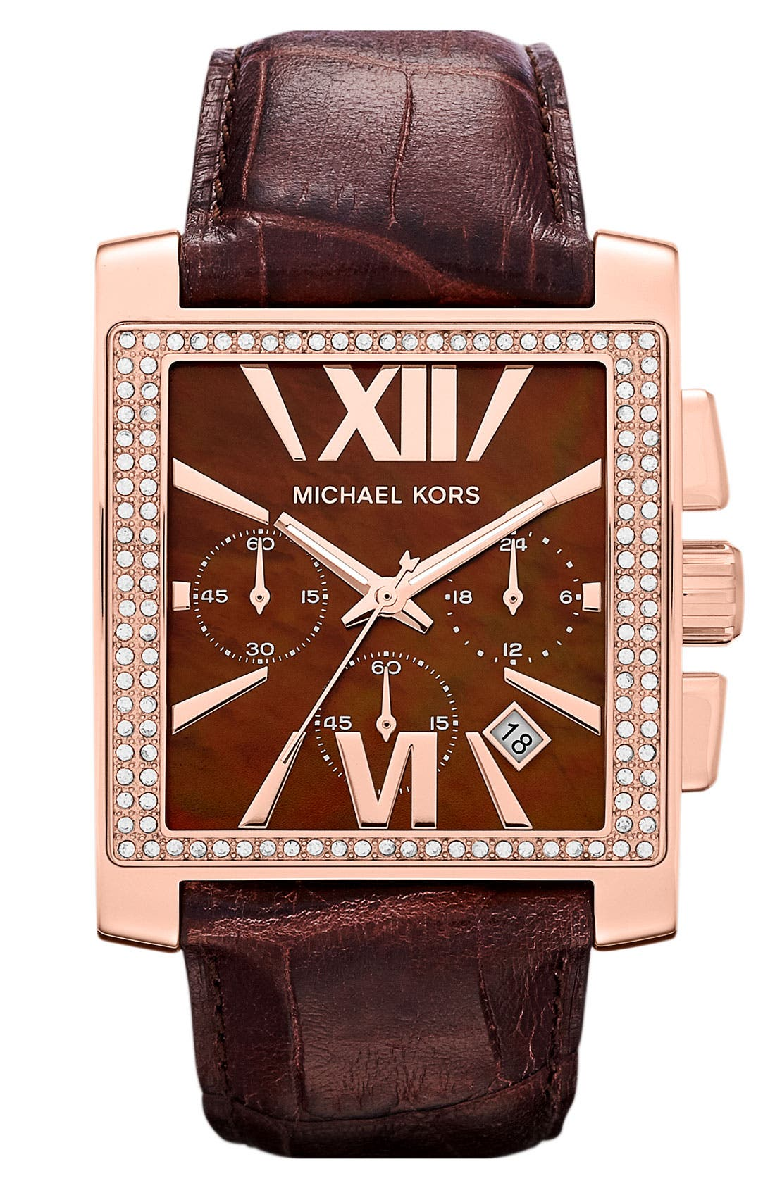 Alternate Image 1 Selected - Michael Kors 'Gia' Square Chronograph Leather Strap Watch, 37mm