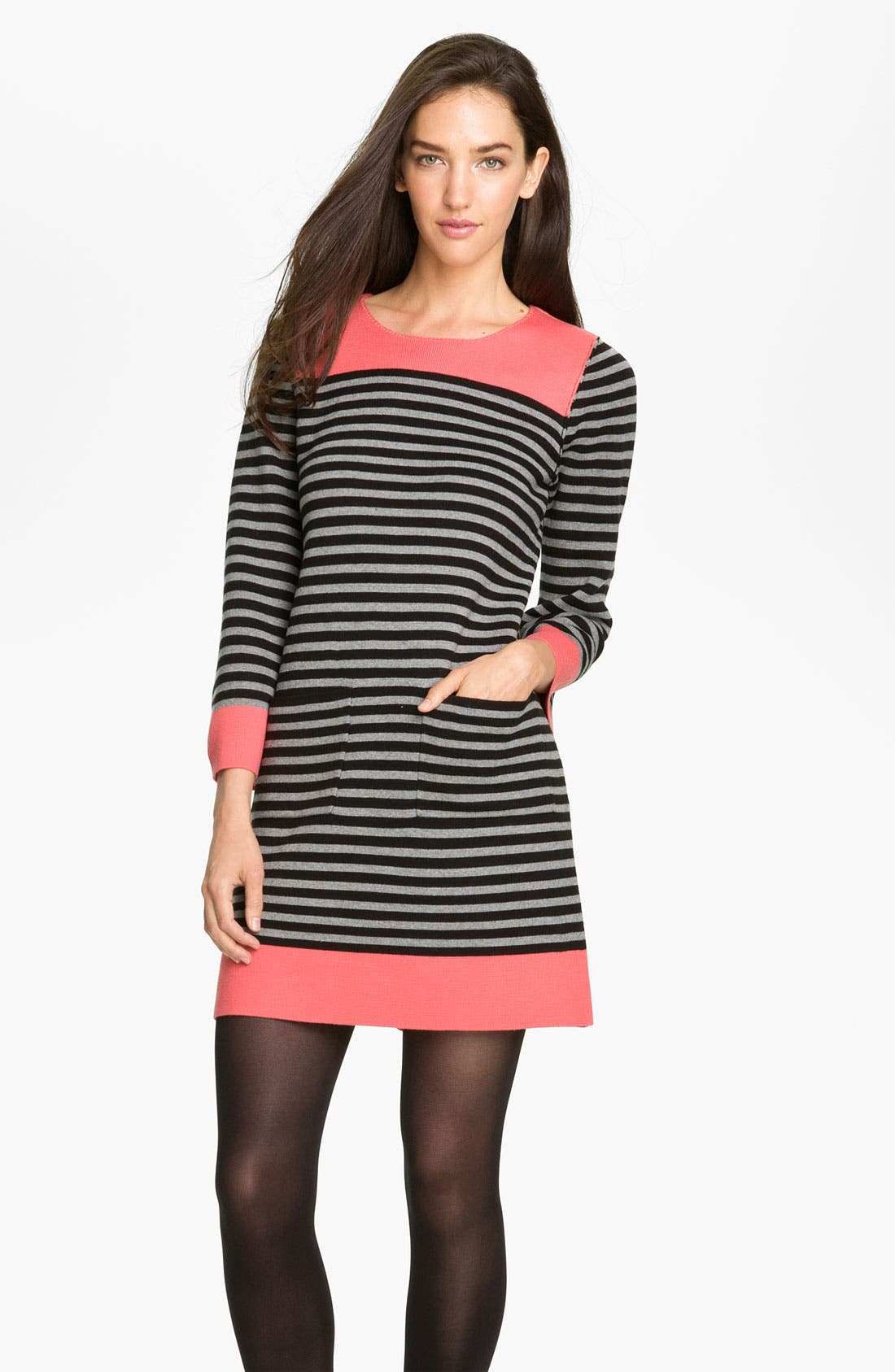 Alternate Image 1 Selected - Eliza J Stripe Contrast Trim Shift Dress