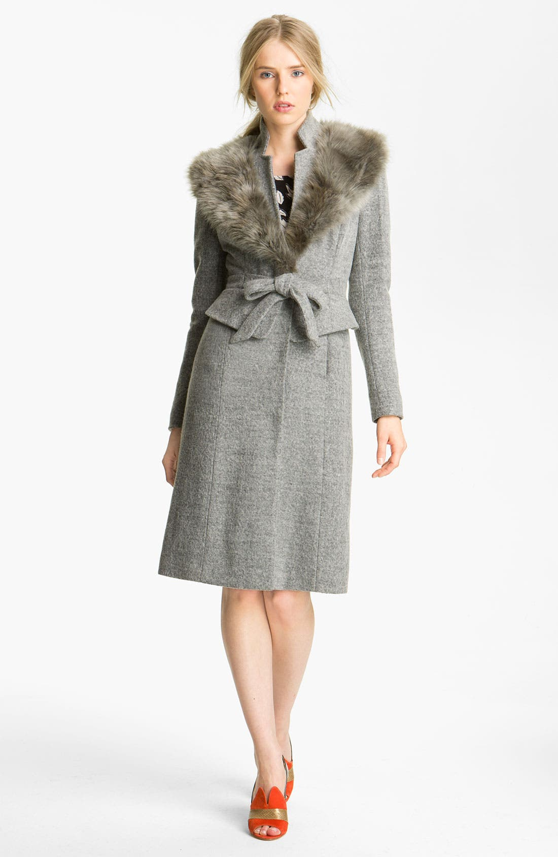 Main Image - Tracy Reese Peplum Felt Coat with Faux Fur Trim