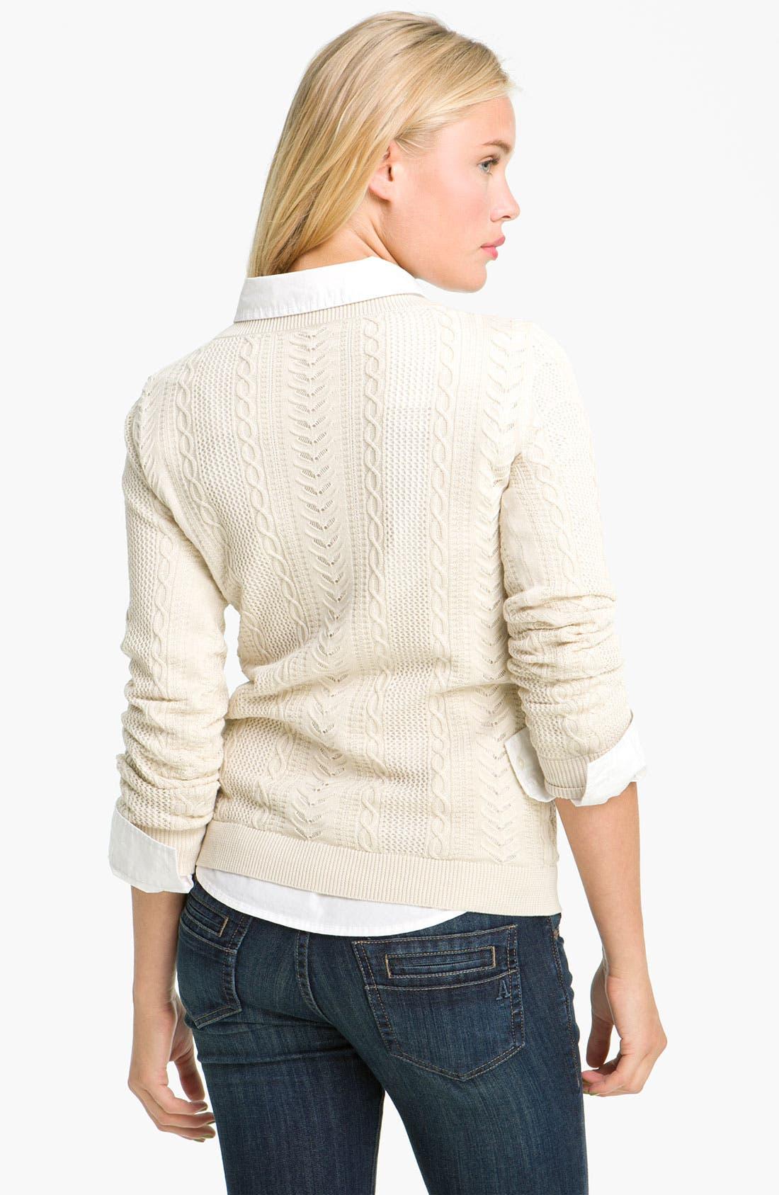 Alternate Image 2  - BP. Sheer Cable Knit Sweater (Juniors)