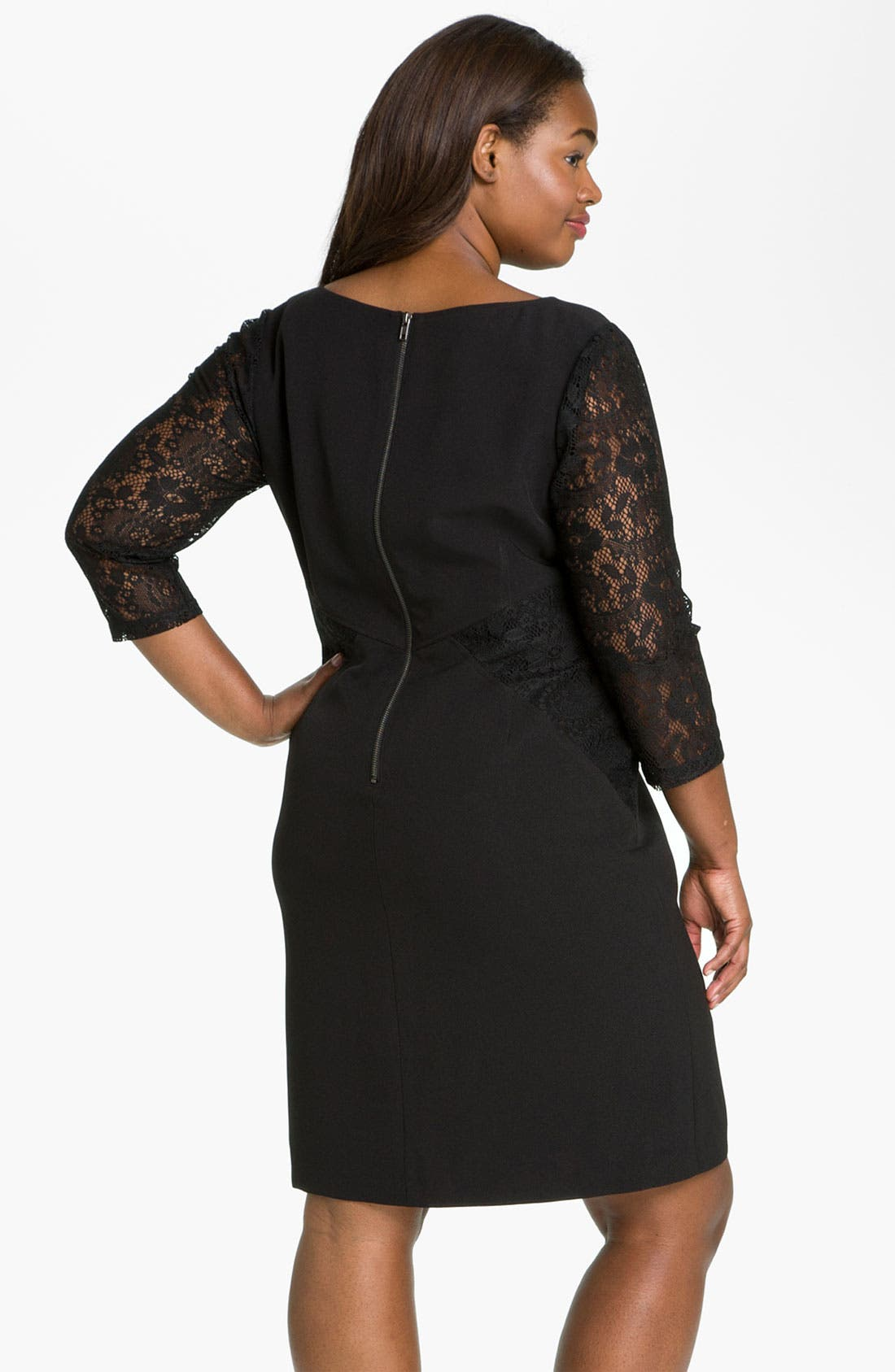 Alternate Image 2  - Adrianna Papell Lace Crepe Sheath Dress (Plus)