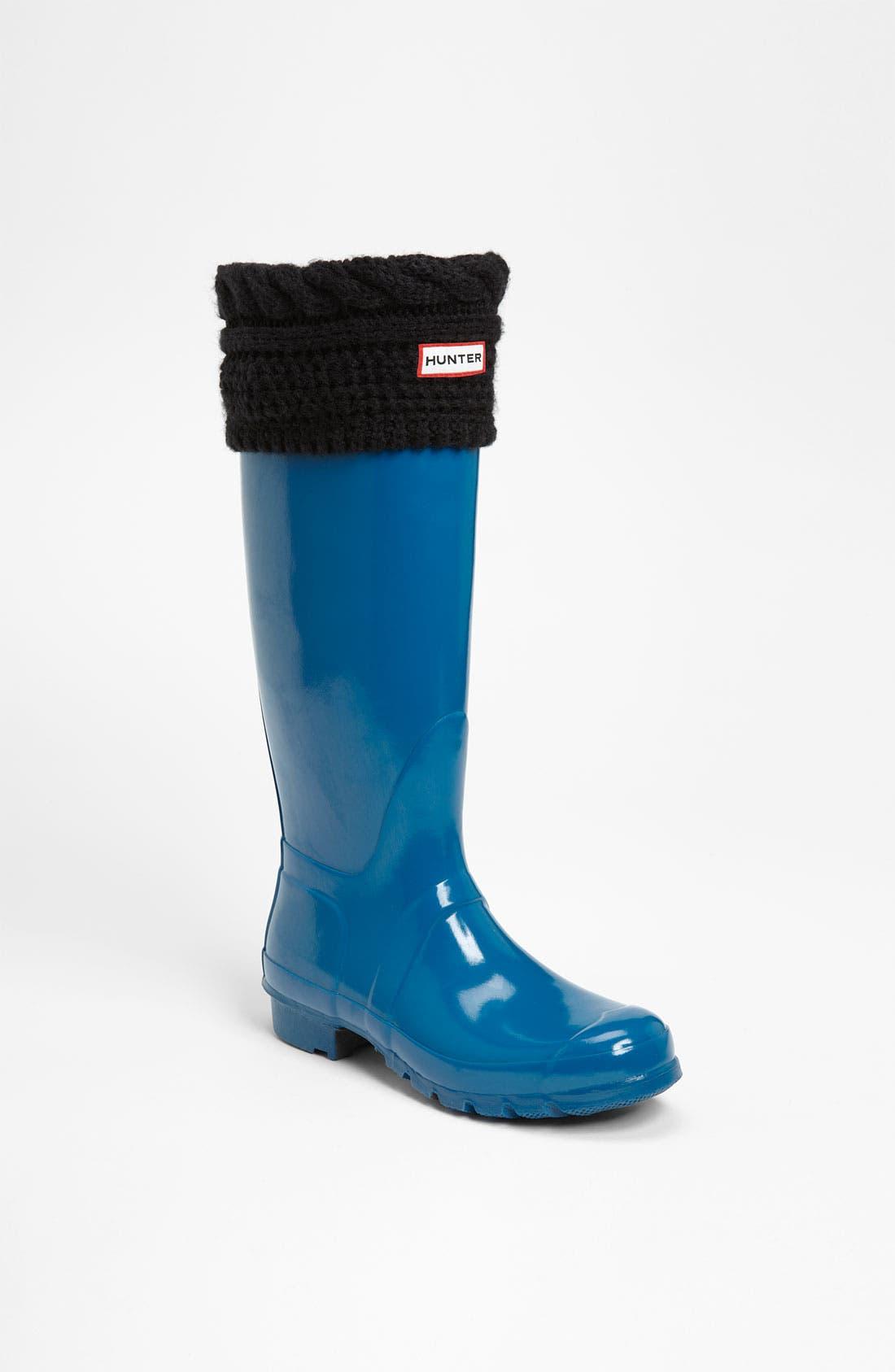 Main Image - Hunter Tall Gloss Rain Boot & Cable Knit Cuff Welly Socks