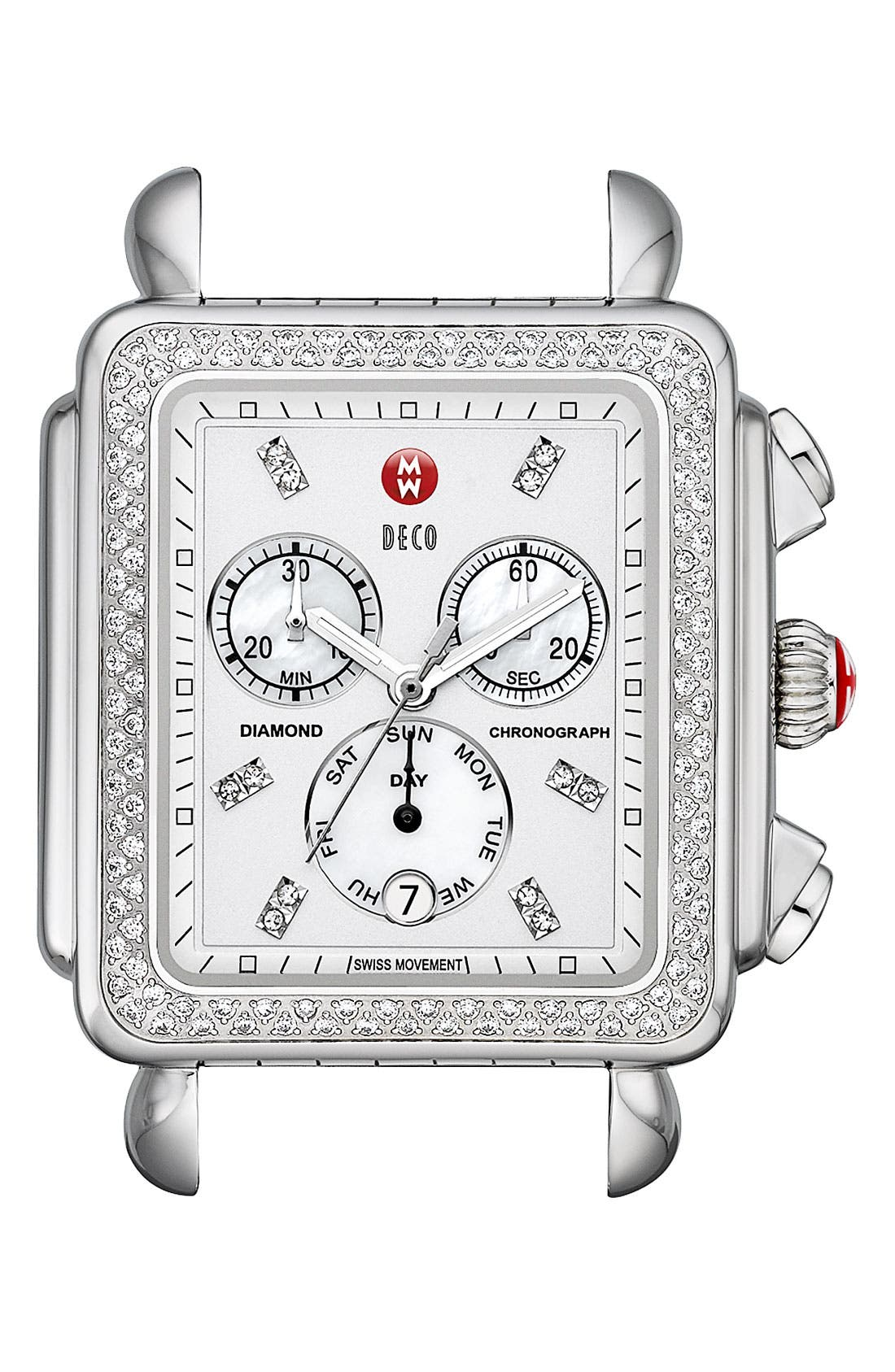 Main Image - MICHELE 'Deco XL Diamond' Diamond Dial Watch Case, 37mm x 38mm