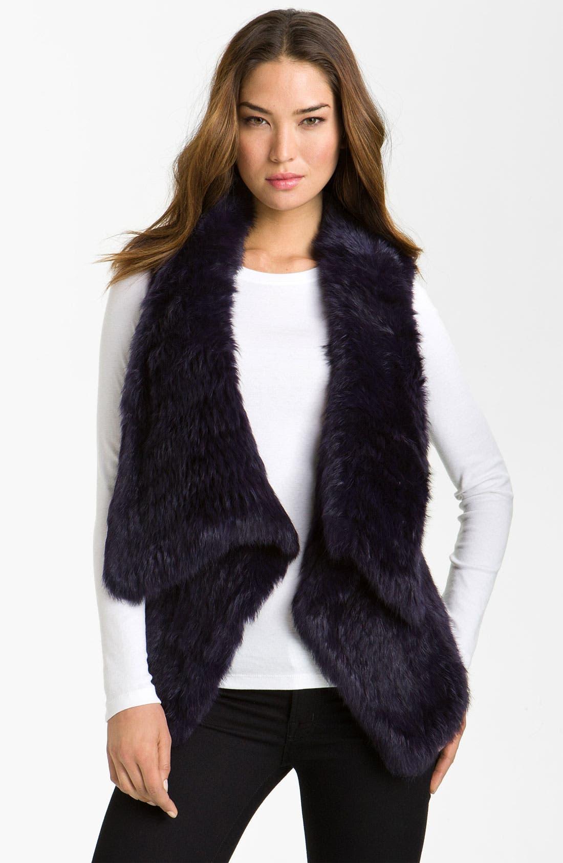 Main Image - bebe Drape Front Rabbit Fur Vest