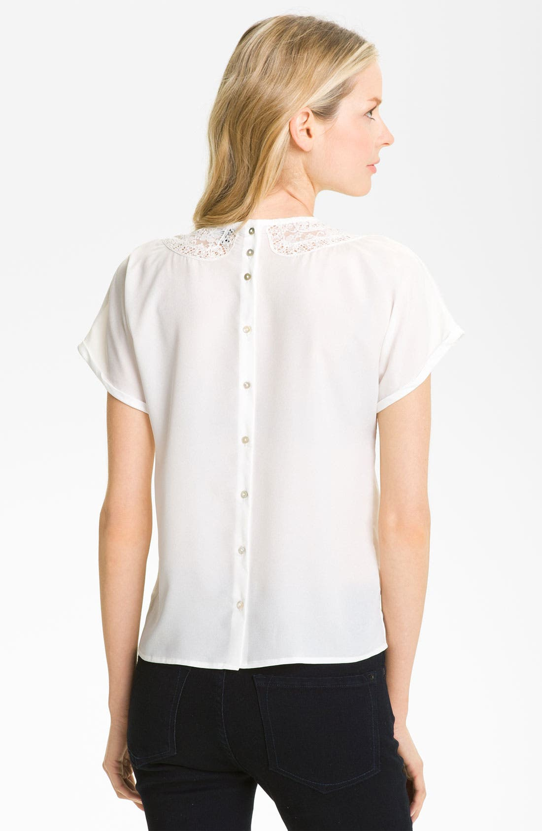 Alternate Image 2  - Gianetta Lace & Pleat Trim Blouse (Petite)