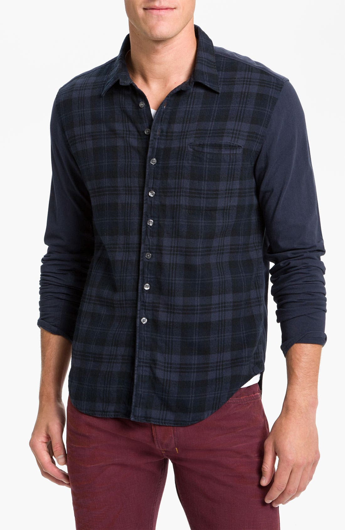 Main Image - Edun Mixed Media Plaid Shirt