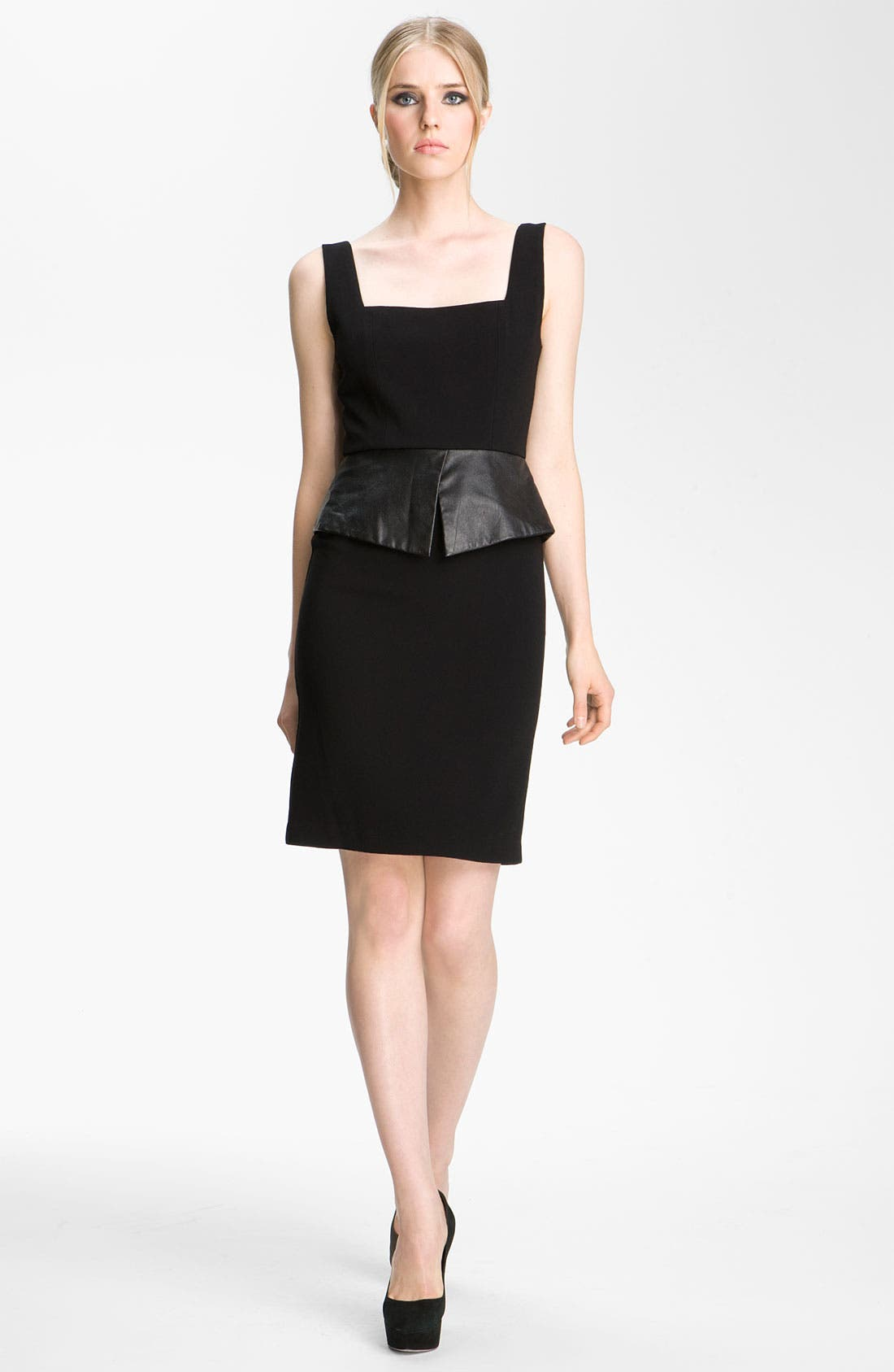 Main Image - Alice + Olivia 'Maddy' Leather Peplum Sheath Dress