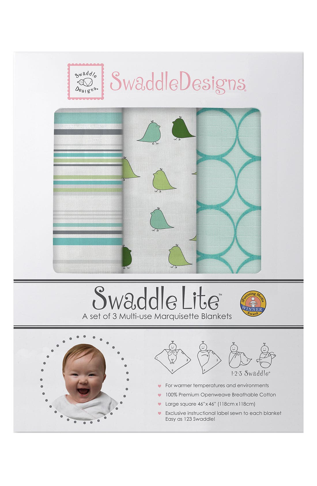 Alternate Image 1 Selected - Swaddle Designs 'Swaddle Lite' Marquisette Blanket (Set of 3)