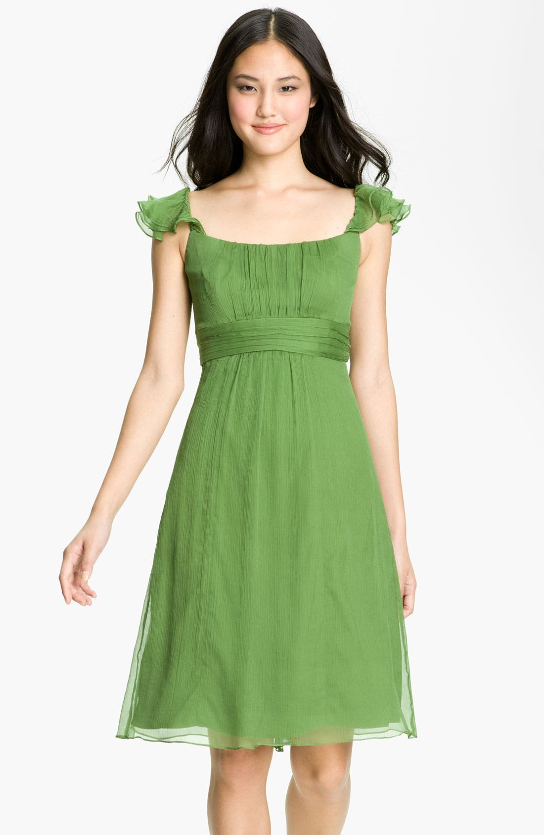Alternate Image 1 Selected - Amsale Ruffle Sleeve Empire Waist Silk Chiffon Dress