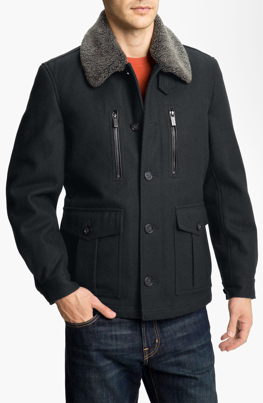 Alternate Image 1 Selected - Michael Kors Wool Blend Newsboy Jacket with Faux Shearling Trim